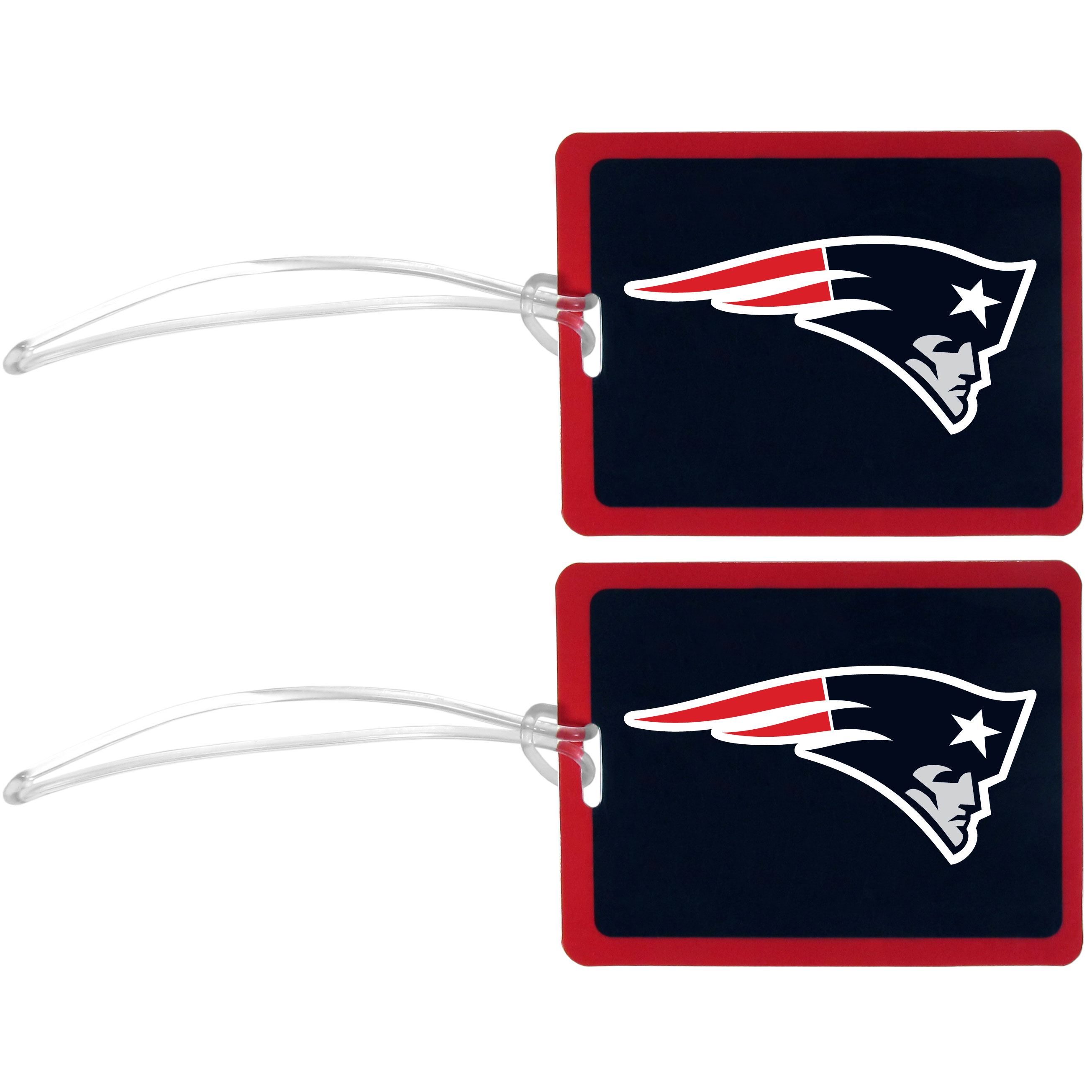 New England Patriots Vinyl Luggage Tag, 2pk - Tired of trying to spot your suitcase or bag in a sea of luggage? Try our large and colorful New England Patriots luggage tags. The tag is 4x3 inches and has a 5 inch cord to attach it easily to your bags, backpacks or luggage. The front of the tag features the team logo in a bright, team colored background and you can write you name, address and phone number on the back of the tag.