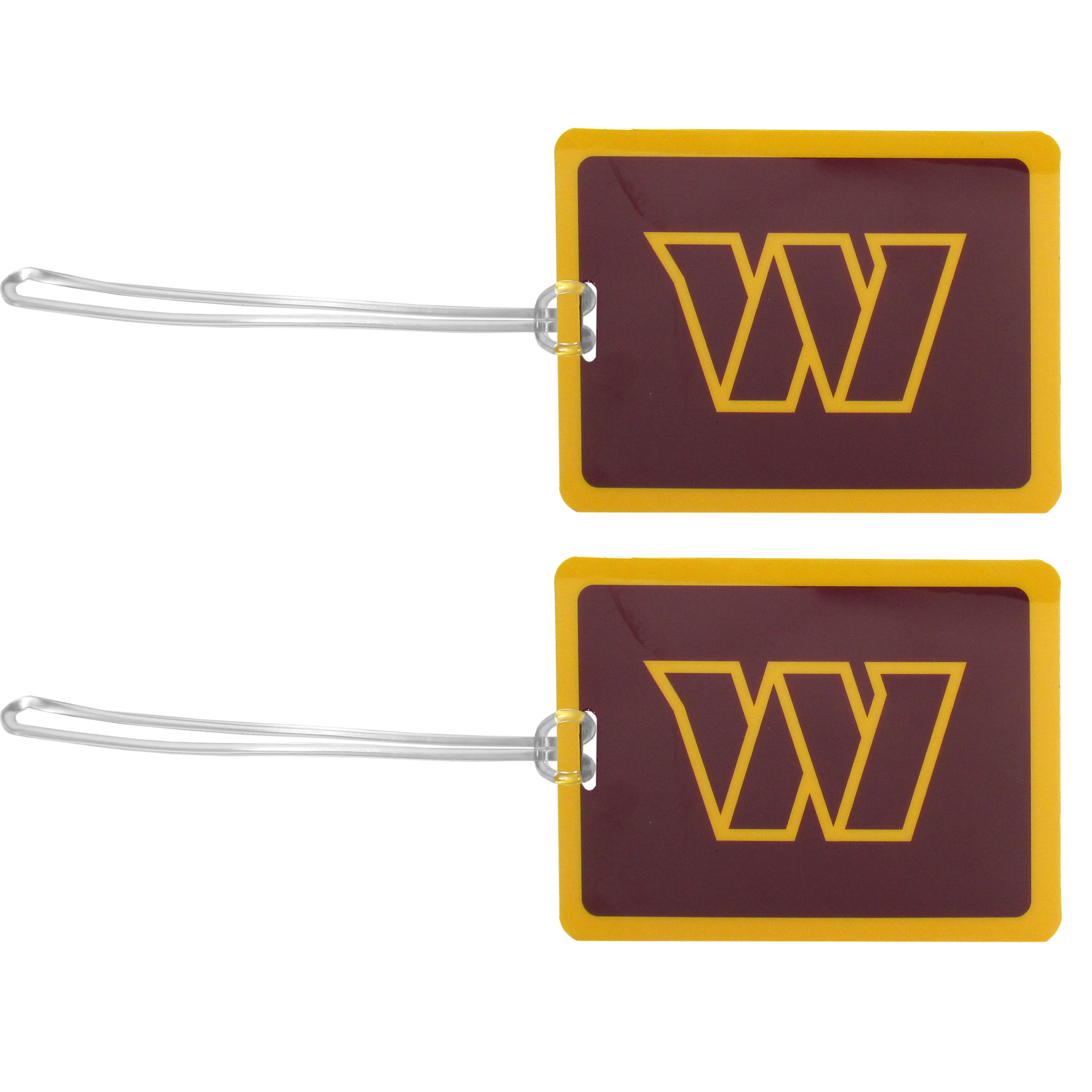 Washington Redskins Vinyl Luggage Tag, 2pk - Tired of trying to spot your suitcase or bag in a sea of luggage? Try our large and colorful Washington Redskins luggage tags. The tag is 4x3 inches and has a 5 inch cord to attach it easily to your bags, backpacks or luggage. The front of the tag features the team logo in a bright, team colored background and you can write you name, address and phone number on the back of the tag.