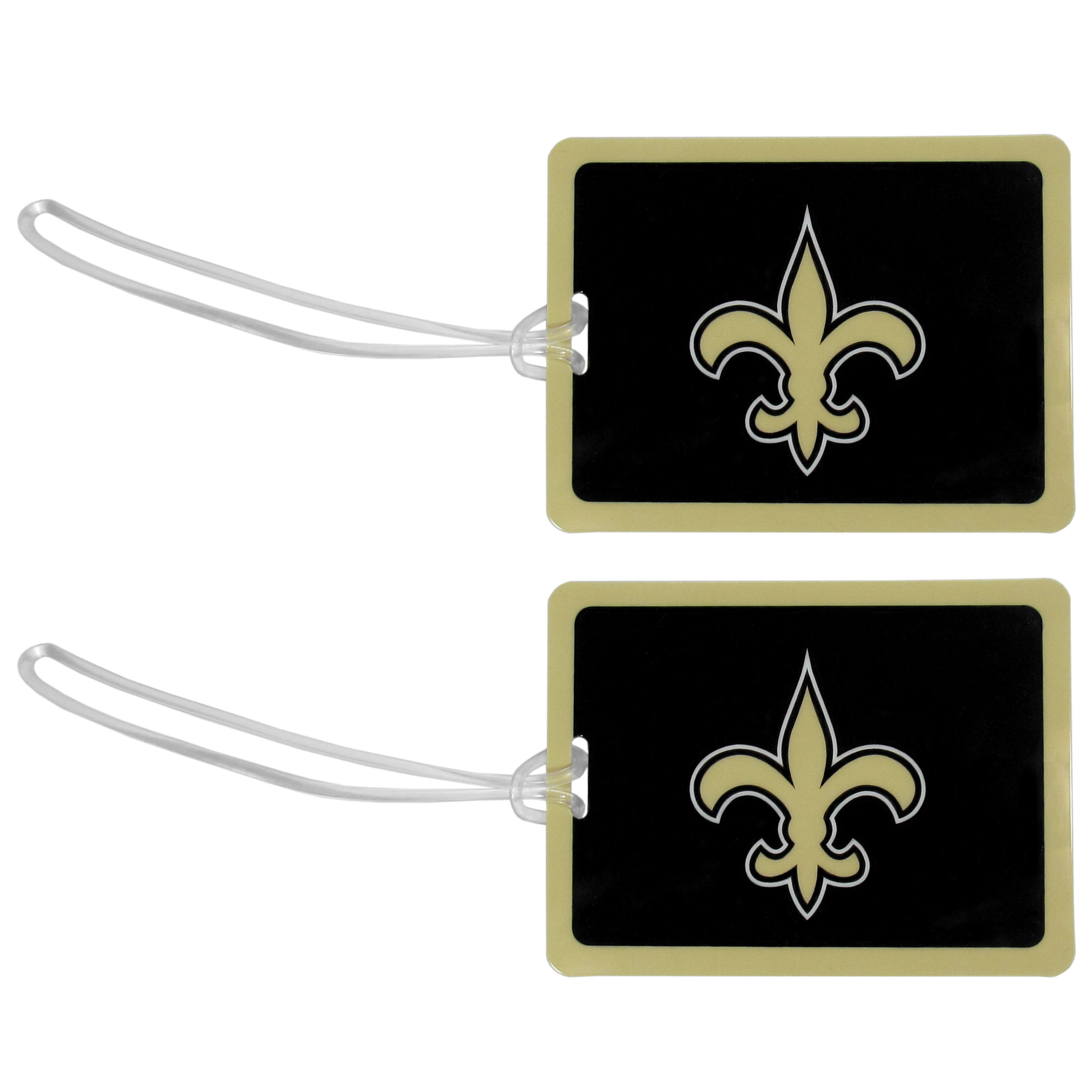 New Orleans Saints Vinyl Luggage Tag, 2pk - Tired of trying to spot your suitcase or bag in a sea of luggage? Try our large and colorful New Orleans Saints luggage tags. The tag is 4x3 inches and has a 5 inch cord to attach it easily to your bags, backpacks or luggage. The front of the tag features the team logo in a bright, team colored background and you can write you name, address and phone number on the back of the tag.
