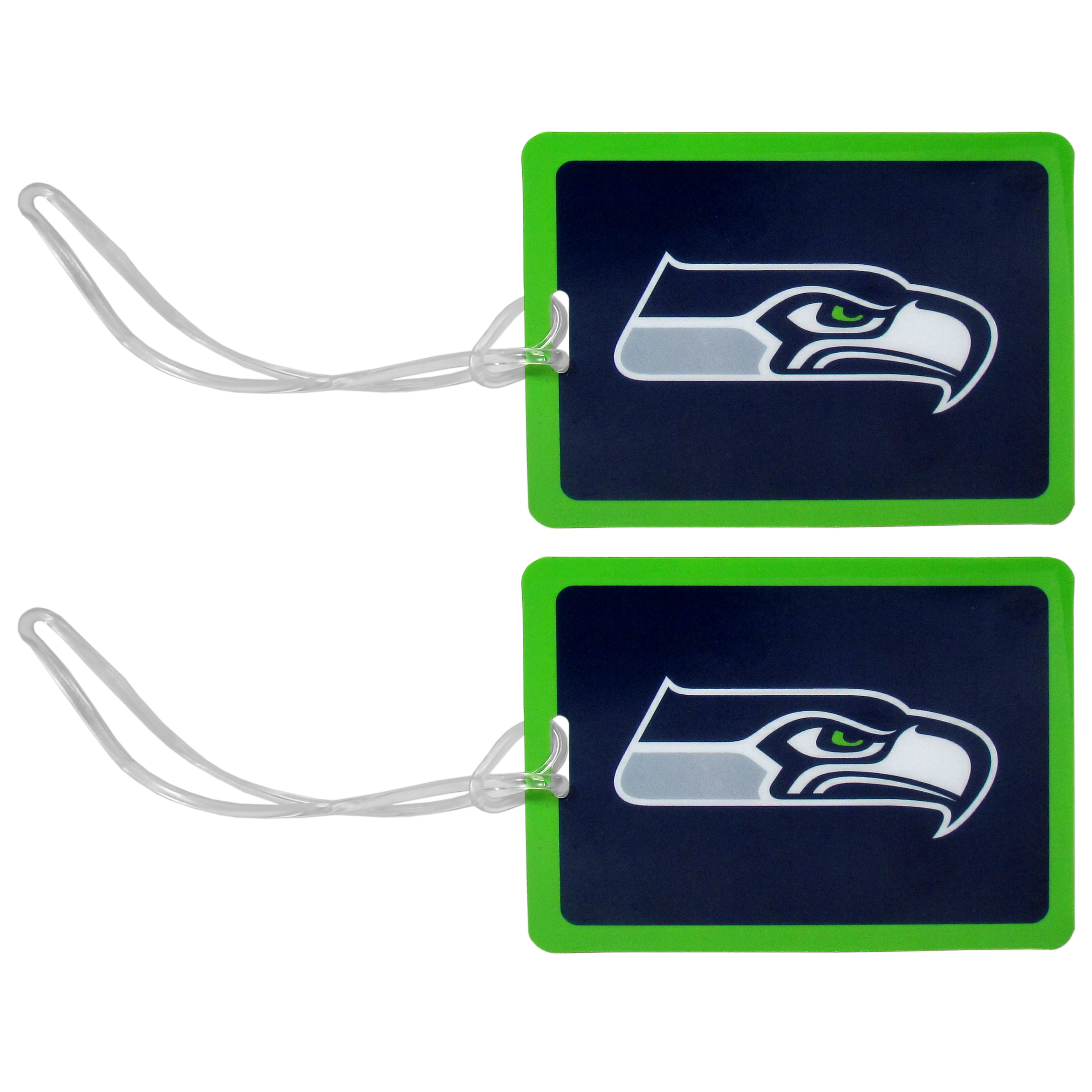 Seattle Seahawks Vinyl Luggage Tag, 2pk - Tired of trying to spot your suitcase or bag in a sea of luggage? Try our large and colorful Seattle Seahawks luggage tags. The tag is 4x3 inches and has a 5 inch cord to attach it easily to your bags, backpacks or luggage. The front of the tag features the team logo in a bright, team colored background and you can write you name, address and phone number on the back of the tag.