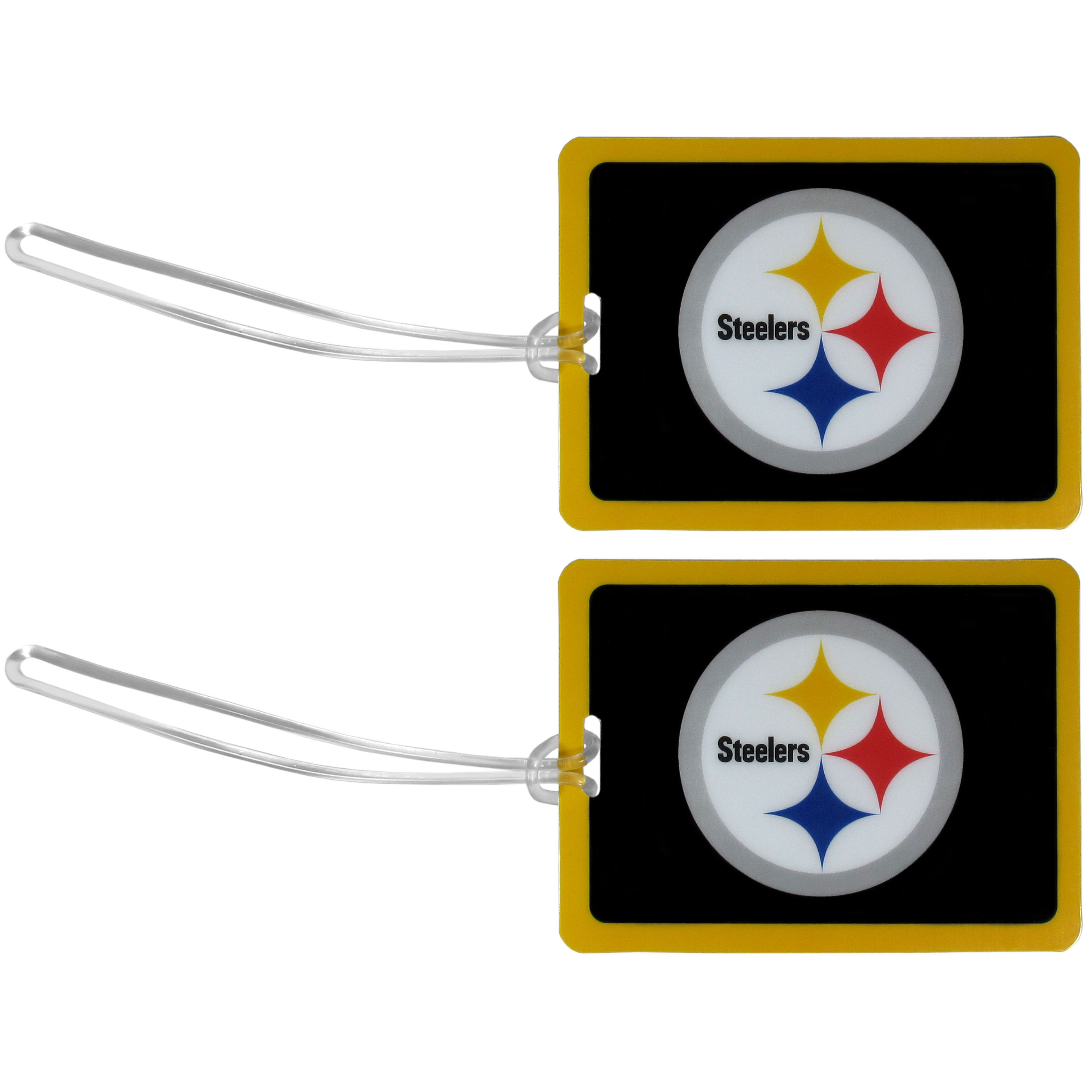 Pittsburgh Steelers Vinyl Luggage Tag, 2pk - Tired of trying to spot your suitcase or bag in a sea of luggage? Try our large and colorful Pittsburgh Steelers luggage tags. The tag is 4x3 inches and has a 5 inch cord to attach it easily to your bags, backpacks or luggage. The front of the tag features the team logo in a bright, team colored background and you can write you name, address and phone number on the back of the tag.