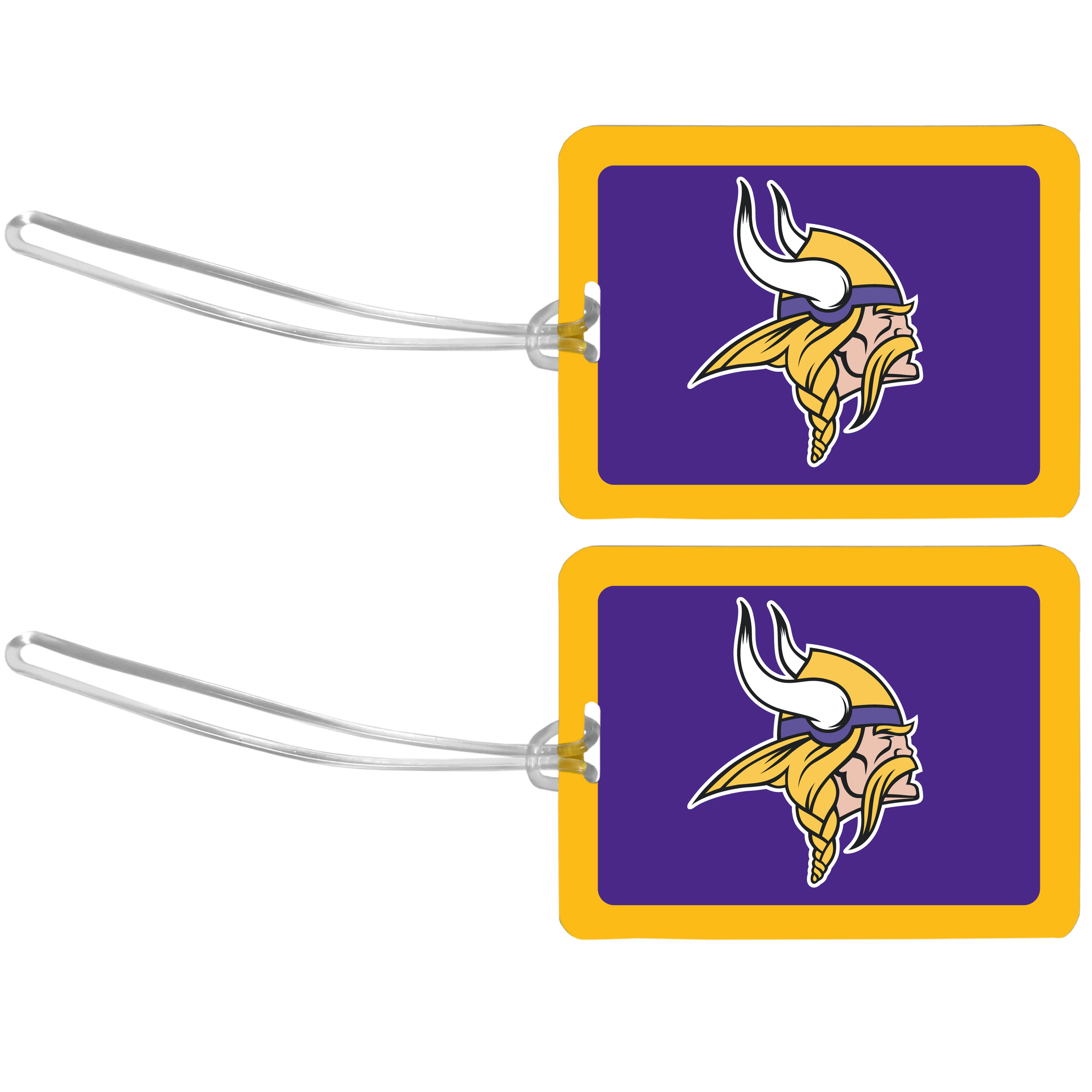 Minnesota Vikings Vinyl Luggage Tag, 2pk - Tired of trying to spot your suitcase or bag in a sea of luggage? Try our large and colorful Minnesota Vikings luggage tags. The tag is 4x3 inches and has a 5 inch cord to attach it easily to your bags, backpacks or luggage. The front of the tag features the team logo in a bright, team colored background and you can write you name, address and phone number on the back of the tag.