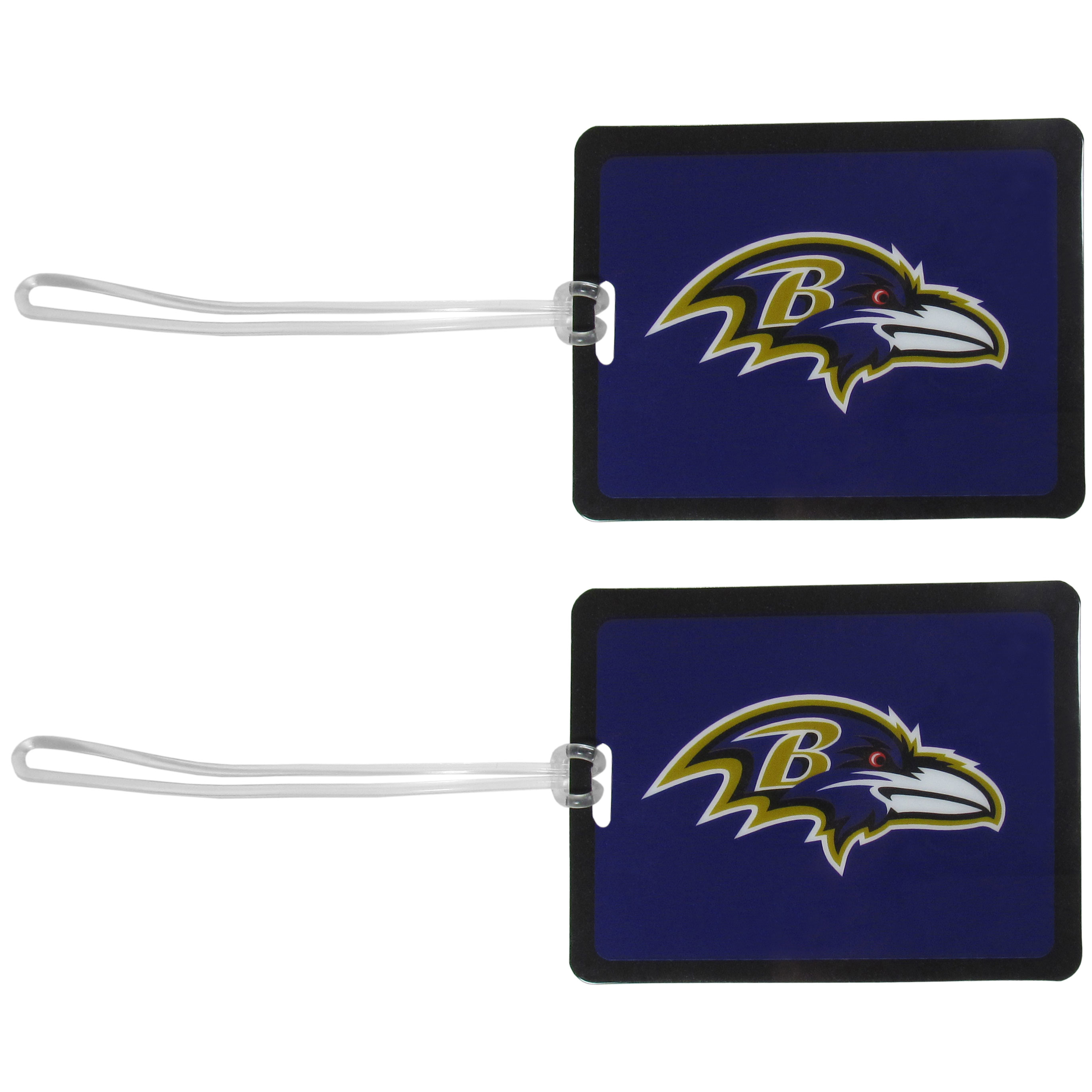 Baltimore Ravens Vinyl Luggage Tag, 2pk - Tired of trying to spot your suitcase or bag in a sea of luggage? Try our large and colorful Baltimore Ravens luggage tags. The tag is 4x3 inches and has a 5 inch cord to attach it easily to your bags, backpacks or luggage. The front of the tag features the team logo in a bright, team colored background and you can write you name, address and phone number on the back of the tag.