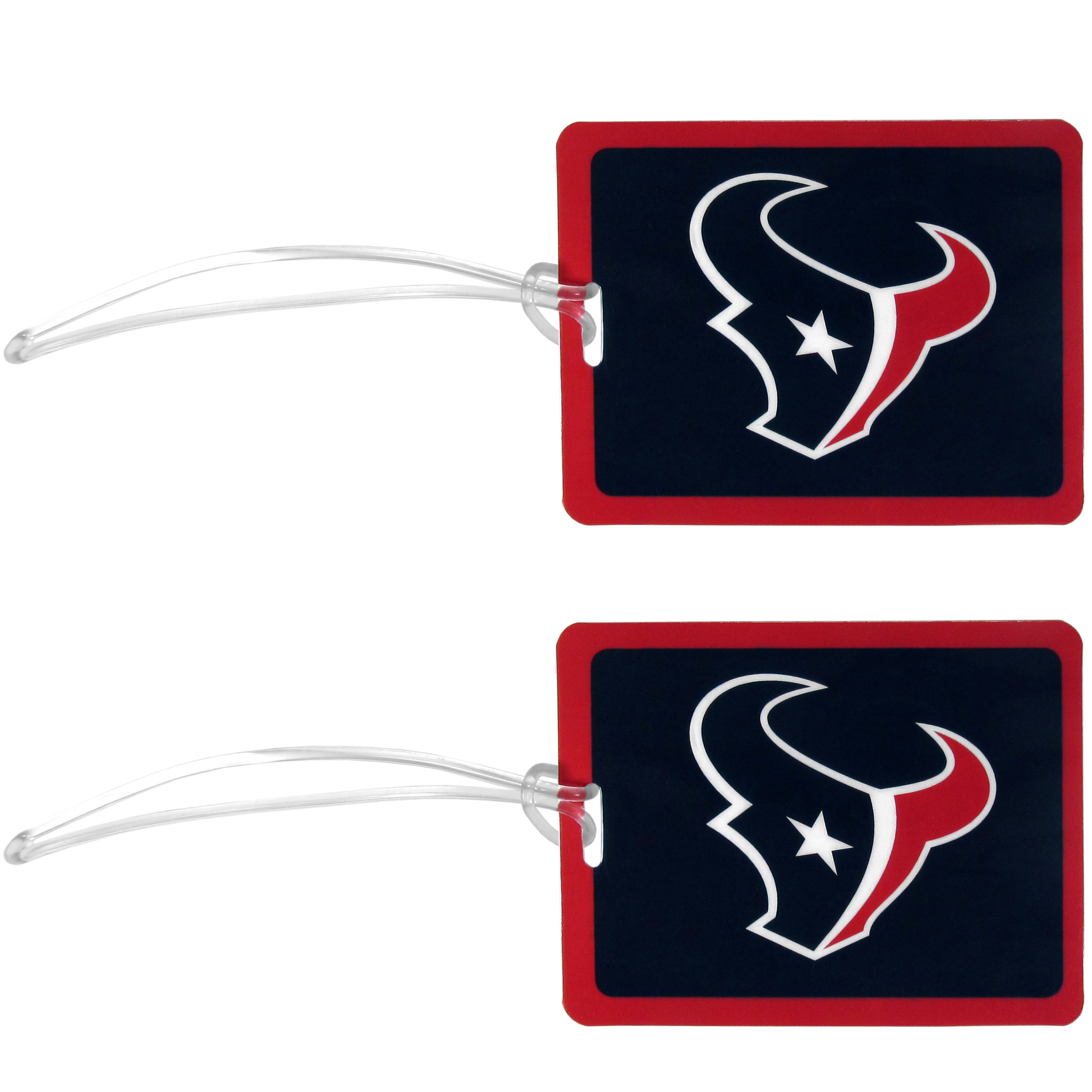 Houston Texans Vinyl Luggage Tag, 2pk - Tired of trying to spot your suitcase or bag in a sea of luggage? Try our large and colorful Houston Texans luggage tags. The tag is 4x3 inches and has a 5 inch cord to attach it easily to your bags, backpacks or luggage. The front of the tag features the team logo in a bright, team colored background and you can write you name, address and phone number on the back of the tag.