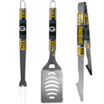 Green Bay Packers 3 pc Tailgater BBQ Set - Our tailgater BBQ set really catches your eye with flashy chrome accents and vivid Green Bay Packers digital graphics. The 420 grade stainless steel tools are tough, heavy-duty tools that will last through years of tailgating fun. The set includes a spatula with a bottle opener and sharp serated egde, fork and tongs.