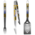 Pittsburgh Steelers 3 pc Tailgater BBQ Set - Our tailgater BBQ set really catches your eye with flashy chrome accents and vivid Pittsburgh Steelers digital graphics. The 420 grade stainless steel tools are tough, heavy-duty tools that will last through years of tailgating fun. The set includes a spatula with a bottle opener and sharp serated egde, fork and tongs.