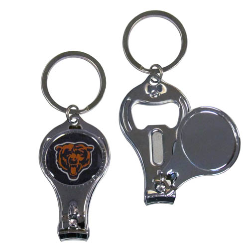 Chicago Bears 3 in 1 Key Chain - This unique NFL Chicago Bears key chain has 3 great functions! The Chicago Bears key chain opens to become a nail clipper, when open you can access the nail file pad and the key chain has a bottle opener. Officially licensed NFL product Licensee: Siskiyou Buckle .com