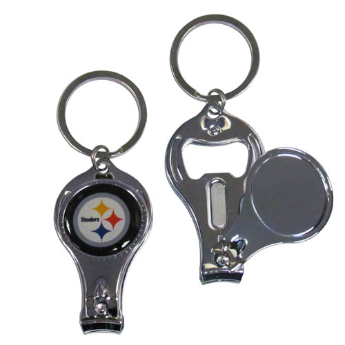 Pittsburgh Steelers 3 in 1 Key Chain - This unique NFL Pittsburgh Steelers key chain has 3 great functions! This Pittsburgh Steelers key chain opens to become a nail clipper, when open you can access the nail file pad and the key chain has a bottle opener. Officially licensed NFL product Licensee: Siskiyou Buckle .com