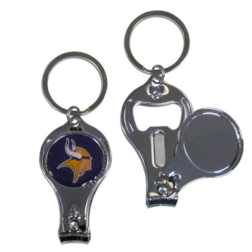 Minnesota Vikings 3 in 1 Key Chain - This unique NFL Minnesota Vikings key chain has 3 great functions! This Minnesota Vikings key chain opens to become a nail clipper, when open you can access the nail file pad and the key chain has a bottle opener. Officially licensed NFL product Licensee: Siskiyou Buckle Thank you for visiting CrazedOutSports.com