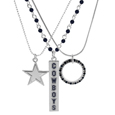 Dallas Cowboys Trio Necklace Set - Set of 3 Dallas Cowboys necklaces that includes; one silver plated chain with a 1 inch hoop that has alternating team colored crystals, one beaded chain with team colored beads and a bar charm featuring the team name in enameled color and finally a ball chain necklace with an expertly crafted team charm in monochromatic tones. The 16 inch necklaces that can be adjusted with the 2 inch extenders. Can be worn separately or together.
