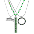 Seattle Seahawks Trio Necklace Set - Set of 3 Seattle Seahawks necklaces that includes; one silver plated chain with a 1 inch hoop that has alternating team colored crystals, one beaded chain with team colored beads and a bar charm featuring the team name in enameled color and finally a ball chain necklace with an expertly crafted team charm in monochromatic tones. The 16 inch necklaces that can be adjusted with the 2 inch extenders. Can be worn separately or together.