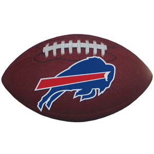 "Buffalo Bills Football Small Magnet - Officially licensed NFL Buffalo Bills football shaped magnet 6.5"" wide and 3.75"" tall. Officially licensed NFL product Licensee: Siskiyou Buckle .com"