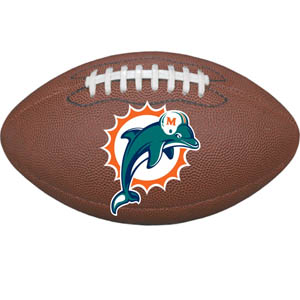 "Miami Dolphins Football Small Magnet - Officially licensed NFL Miami Dolphins football shaped magnet 6.5"" wide and 3.75"" tall. Officially licensed NFL product Licensee: Siskiyou Buckle .com"