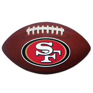 "San Francisco 49ers Football Small Magnet - Officially licensed NFL San Francisco 49ers football shaped magnet 6.5"" wide and 3.75"" tall. Officially licensed NFL product Licensee: Siskiyou Buckle .com"