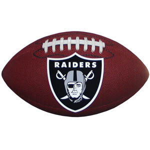 "Oakland Raiders Football Small Magnet - Officially licensed NFL Oakland Raiders football shaped magnet 6.5"" wide and 3.75"" tall. Officially licensed NFL product Licensee: Siskiyou Buckle Thank you for visiting CrazedOutSports.com"