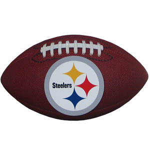 "Pittsburgh Steelers Football Small Magnet - Officially licensed NFL Pittsburgh Steelers football shaped magnet 6.5"" wide and 3.75"" tall. Officially licensed NFL product Licensee: Siskiyou Buckle .com"