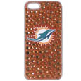 Miami Dolphins iPhone 5/5S Dazzle Snap on Case - Want the world to know you're a fan? This Miami Dolphins iPhone 5/5S Dazzle Snap on Case shimmers and shines your love of the Miami Dolphins to everyone! The Miami Dolphins iPhone 5/5S Dazzle Snap on Case is covered in multi-sized team colored crystal on a glitter background surrounding the team's logo. The single piece case easily snaps onto your iPhone 5/5S and provides great protection from bumps and scrapes. Officially licensed NFL product Licensee: Siskiyou Buckle .com