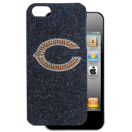 Chicago Bears Rocker Case fits iPhone 5 - Add a little glitz to your game with our NFL iPhone 5 Glitz faceplates. These officially licensed flashy cases are covered in colored crystals featuring your favorite team logos. The single piece faceplate slips easily onto your phone while allowing complete access to the phones functionality. A great, fashionable way to protect your phone investment and show off your team pride! Officially licensed NFL product Licensee: Siskiyou Buckle Thank you for visiting CrazedOutSports.com