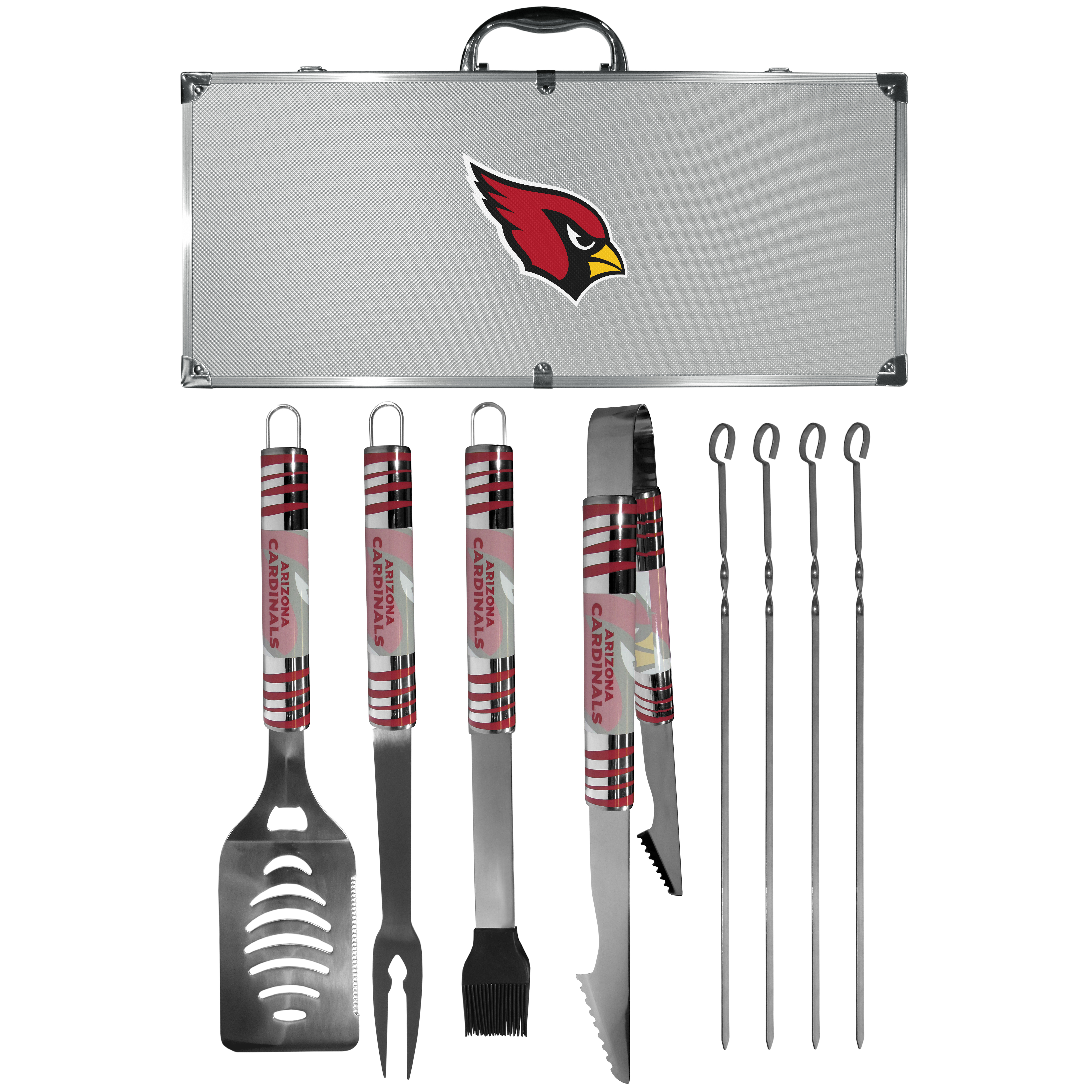 Arizona Cardinals 8 pc Tailgater BBQ Set - This is the ultimate Arizona Cardinals tailgate accessory! The high quality, 420 grade stainless steel tools are durable and well-made enough to make even the pickiest grill master smile. This complete grill accessory kit includes; 4 skewers, spatula with bottle opener and serrated knife edge, basting brush, tongs and a fork. The 18 inch metal carrying case is perfect for great outdoor use making grilling an ease while camping, tailgating or while having a game day party on your patio. The tools are 17 inches long and feature vivid team graphics. The metal case features a large team emblem with exceptional detail. This high-end men's gift is sure to be a hit as a present on Father's Day or Christmas.