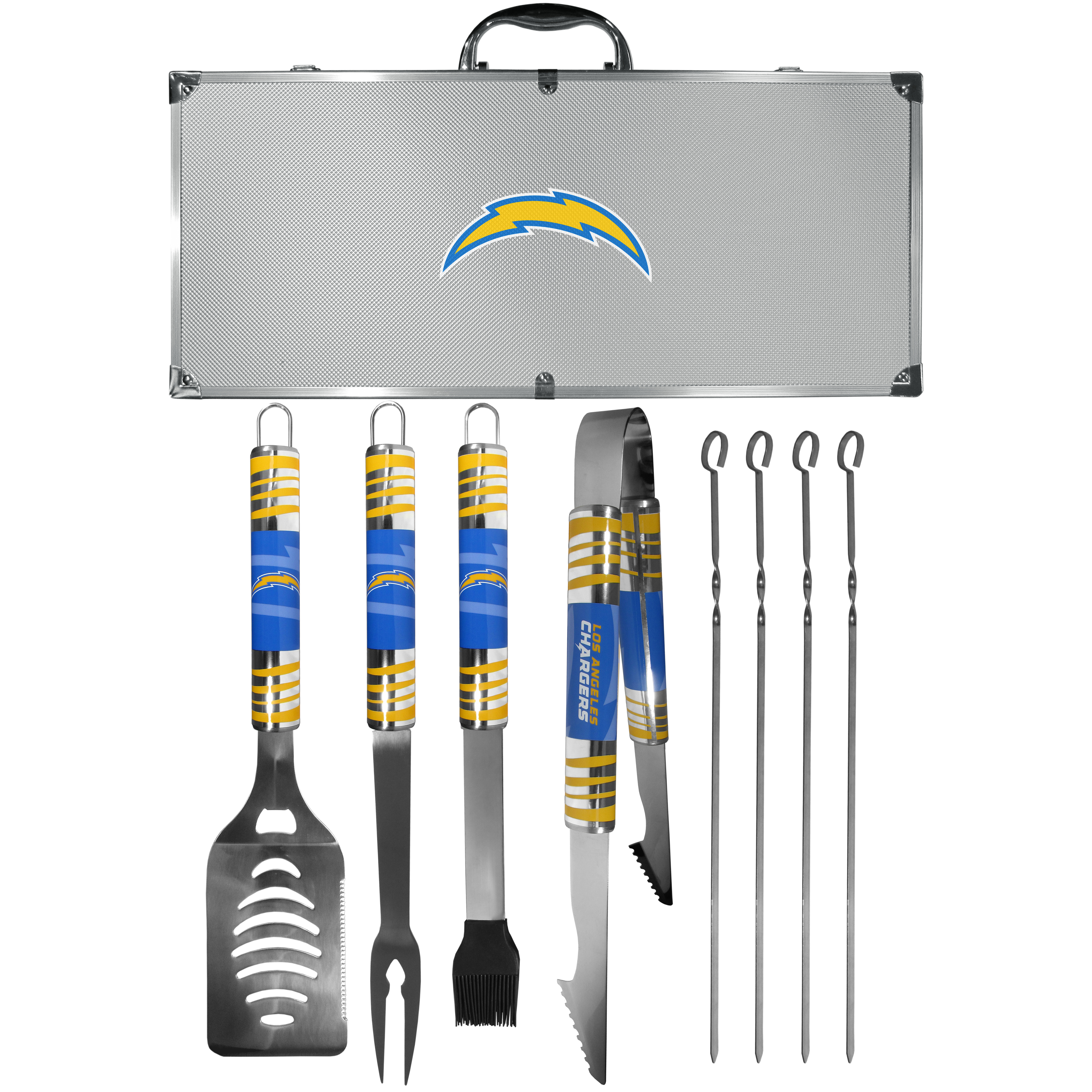 Los Angeles Chargers 8 pc Tailgater BBQ Set - This is the ultimate Los Angeles Chargers tailgate accessory! The high quality, 420 grade stainless steel tools are durable and well-made enough to make even the pickiest grill master smile. This complete grill accessory kit includes; 4 skewers, spatula with bottle opener and serrated knife edge, basting brush, tongs and a fork. The 18 inch metal carrying case is perfect for great outdoor use making grilling an ease while camping, tailgating or while having a game day party on your patio. The tools are 17 inches long and feature vivid team graphics. The metal case features a large team emblem with exceptional detail. This high-end men's gift is sure to be a hit as a present on Father's Day or Christmas.