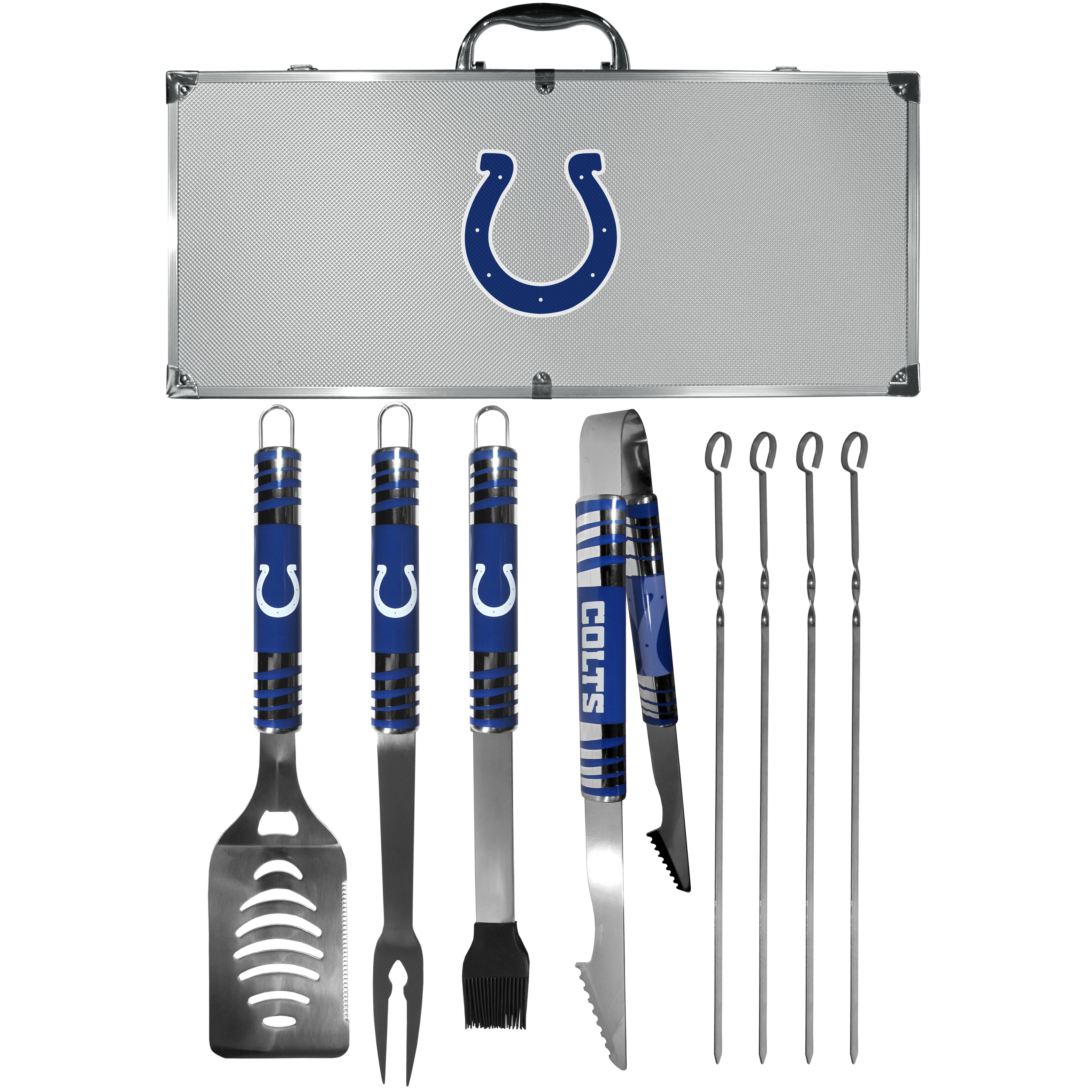 Indianapolis Colts 8 pc Tailgater BBQ Set - This is the ultimate Indianapolis Colts tailgate accessory! The high quality, 420 grade stainless steel tools are durable and well-made enough to make even the pickiest grill master smile. This complete grill accessory kit includes; 4 skewers, spatula with bottle opener and serrated knife edge, basting brush, tongs and a fork. The 18 inch metal carrying case is perfect for great outdoor use making grilling an ease while camping, tailgating or while having a game day party on your patio. The tools are 17 inches long and feature vivid team graphics. The metal case features a large team emblem with exceptional detail. This high-end men's gift is sure to be a hit as a present on Father's Day or Christmas.