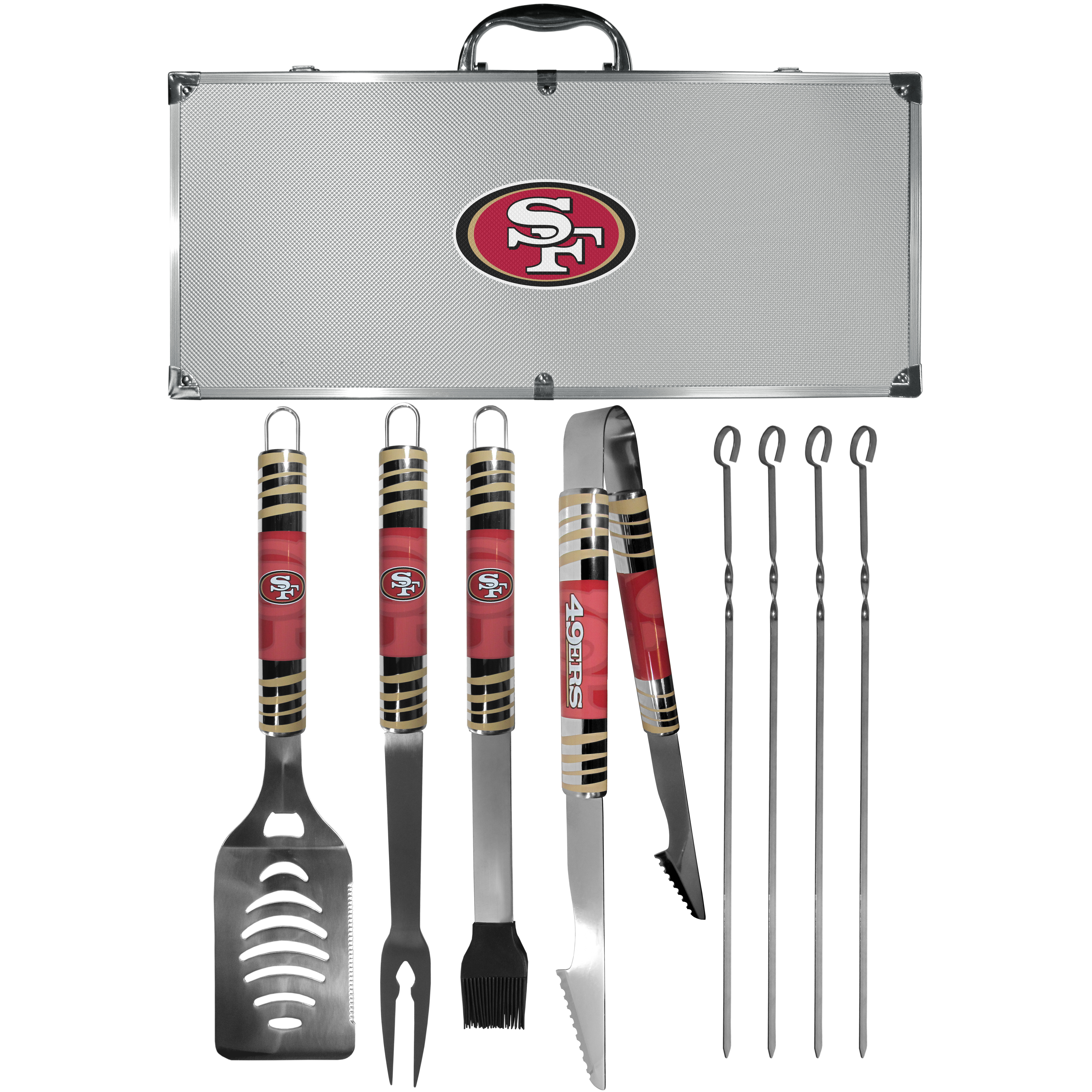 San Francisco 49ers 8 pc Tailgater BBQ Set - This is the ultimate San Francisco 49ers tailgate accessory! The high quality, 420 grade stainless steel tools are durable and well-made enough to make even the pickiest grill master smile. This complete grill accessory kit includes; 4 skewers, spatula with bottle opener and serrated knife edge, basting brush, tongs and a fork. The 18 inch metal carrying case is perfect for great outdoor use making grilling an ease while camping, tailgating or while having a game day party on your patio. The tools are 17 inches long and feature vivid team graphics. The metal case features a large team emblem with exceptional detail. This high-end men's gift is sure to be a hit as a present on Father's Day or Christmas.