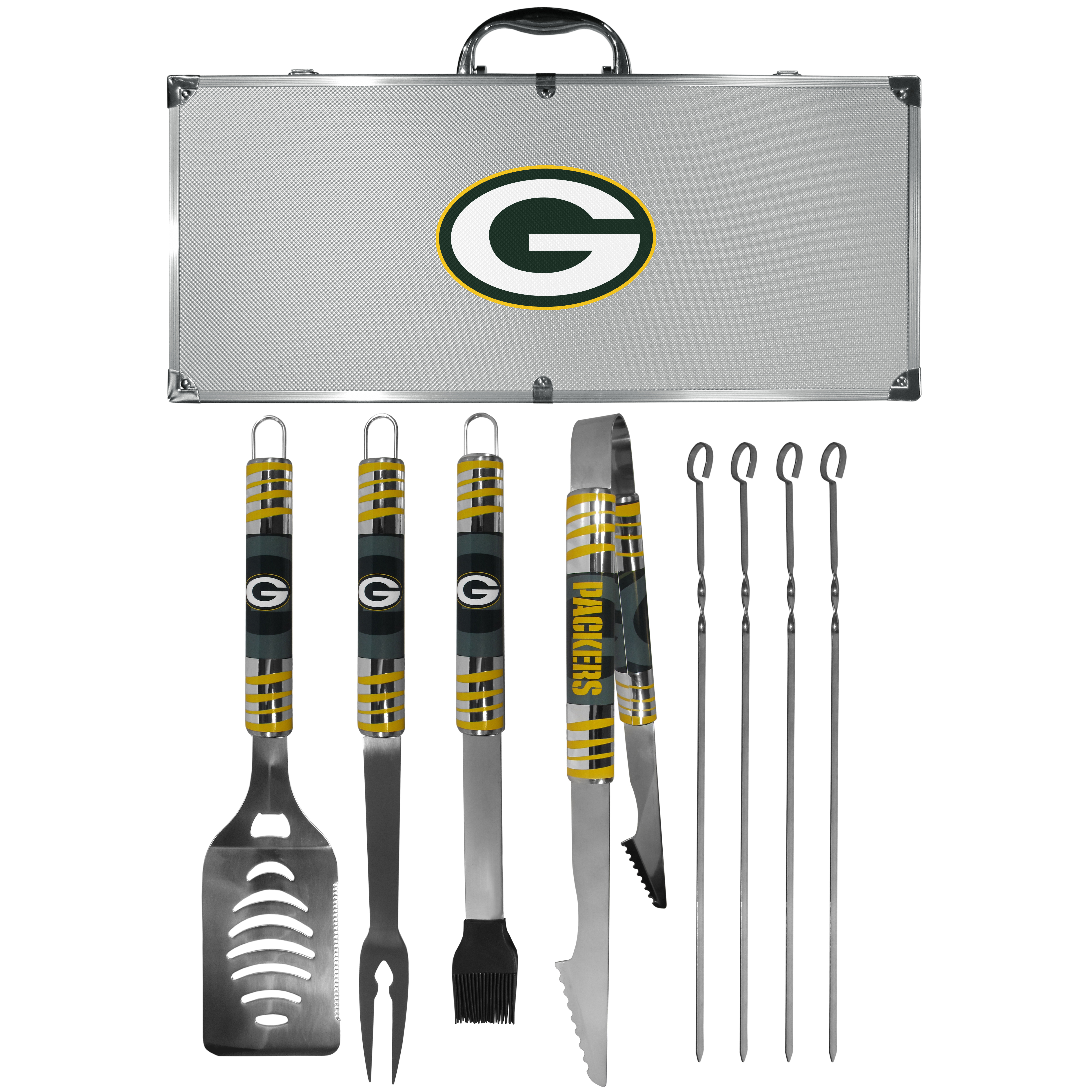 Green Bay Packers 8 pc Tailgater BBQ Set - This is the ultimate Green Bay Packers tailgate accessory! The high quality, 420 grade stainless steel tools are durable and well-made enough to make even the pickiest grill master smile. This complete grill accessory kit includes; 4 skewers, spatula with bottle opener and serrated knife edge, basting brush, tongs and a fork. The 18 inch metal carrying case is perfect for great outdoor use making grilling an ease while camping, tailgating or while having a game day party on your patio. The tools are 17 inches long and feature vivid team graphics. The metal case features a large team emblem with exceptional detail. This high-end men's gift is sure to be a hit as a present on Father's Day or Christmas.
