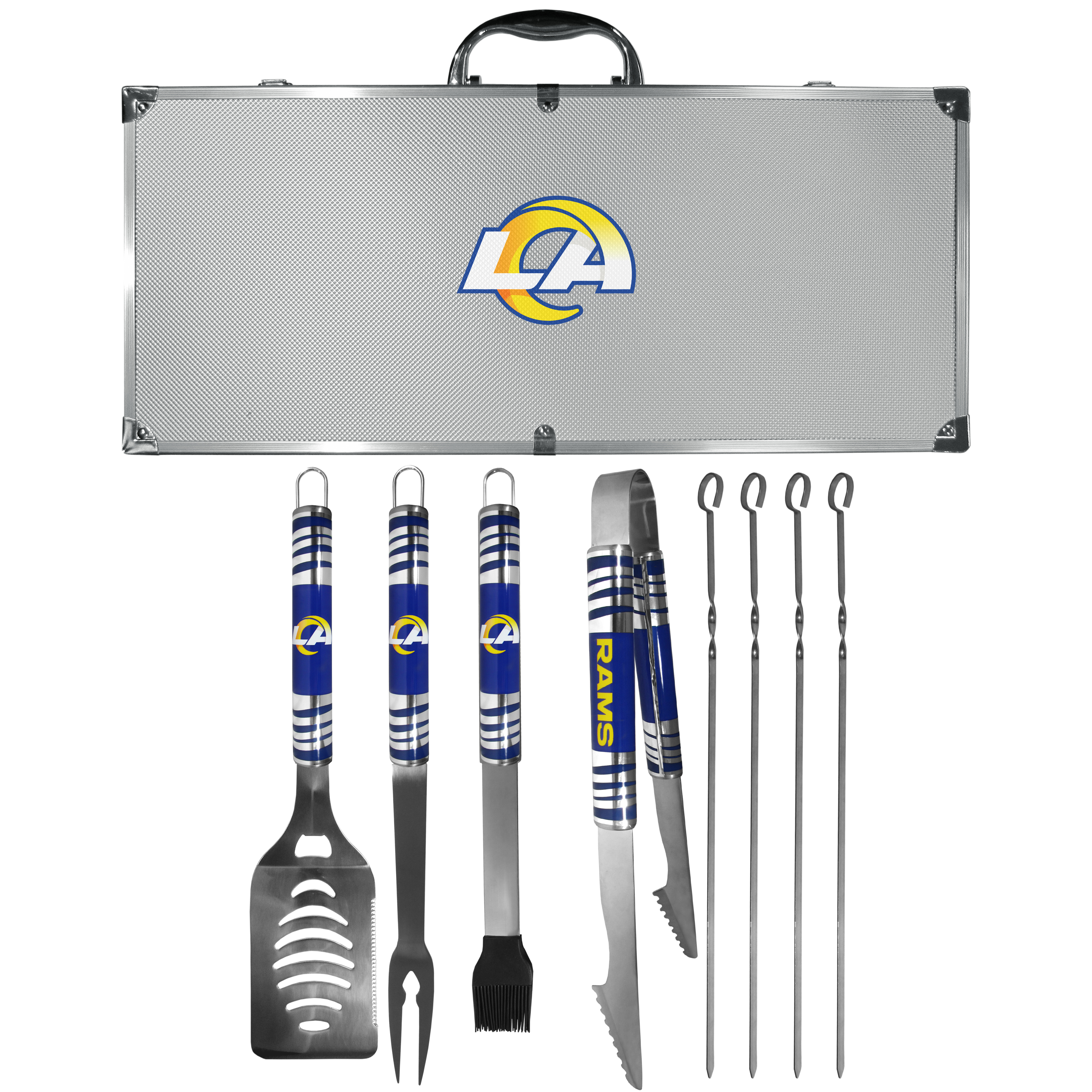 Los Angeles Rams 8 pc Tailgater BBQ Set - This is the ultimate Los Angeles Rams tailgate accessory! The high quality, 420 grade stainless steel tools are durable and well-made enough to make even the pickiest grill master smile. This complete grill accessory kit includes; 4 skewers, spatula with bottle opener and serrated knife edge, basting brush, tongs and a fork. The 18 inch metal carrying case is perfect for great outdoor use making grilling an ease while camping, tailgating or while having a game day party on your patio. The tools are 17 inches long and feature vivid team graphics. The metal case features a large team emblem with exceptional detail. This high-end men's gift is sure to be a hit as a present on Father's Day or Christmas.