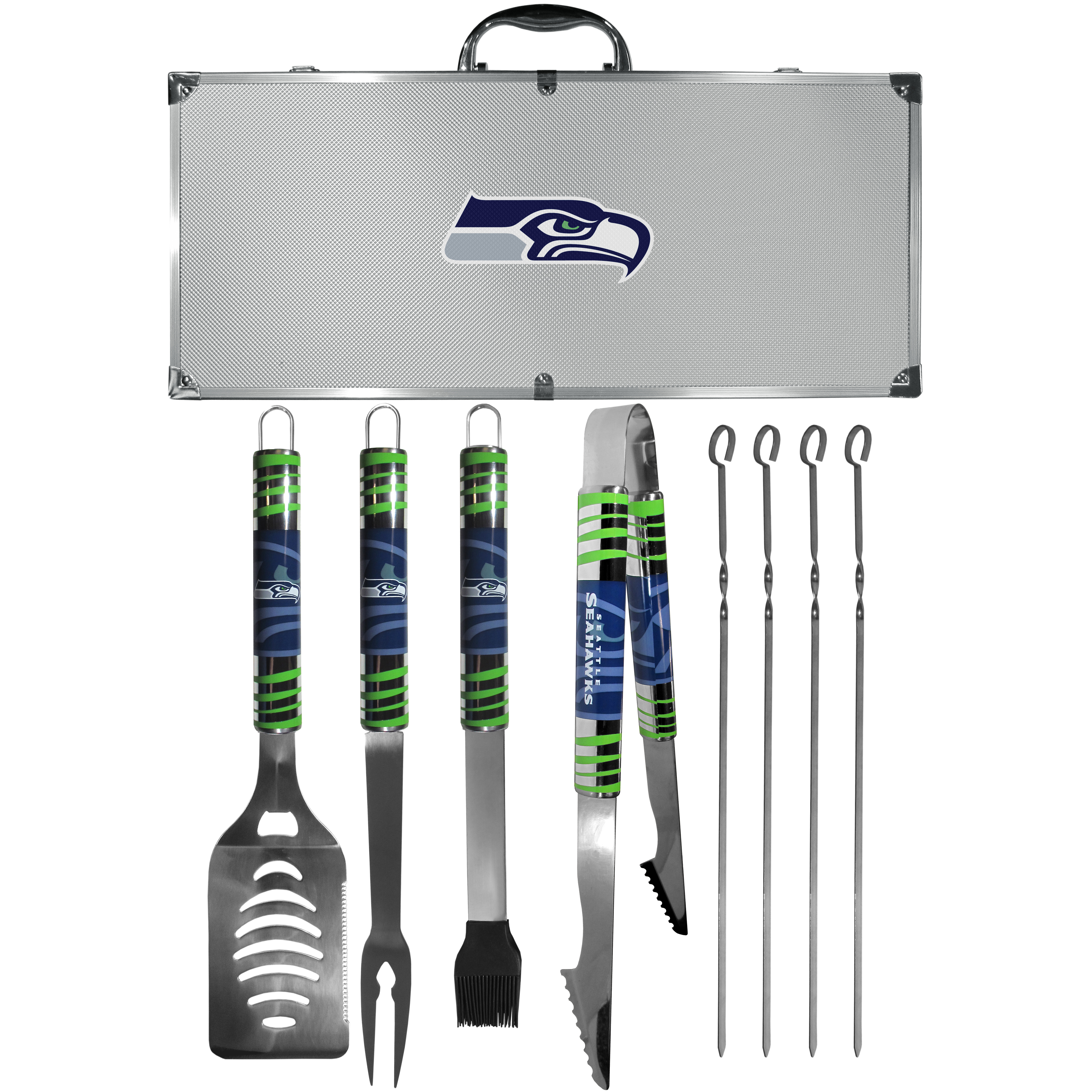 Seattle Seahawks 8 pc Tailgater BBQ Set - This is the ultimate Seattle Seahawks tailgate accessory! The high quality, 420 grade stainless steel tools are durable and well-made enough to make even the pickiest grill master smile. This complete grill accessory kit includes; 4 skewers, spatula with bottle opener and serrated knife edge, basting brush, tongs and a fork. The 18 inch metal carrying case is perfect for great outdoor use making grilling an ease while camping, tailgating or while having a game day party on your patio. The tools are 17 inches long and feature vivid team graphics. The metal case features a large team emblem with exceptional detail. This high-end men's gift is sure to be a hit as a present on Father's Day or Christmas.