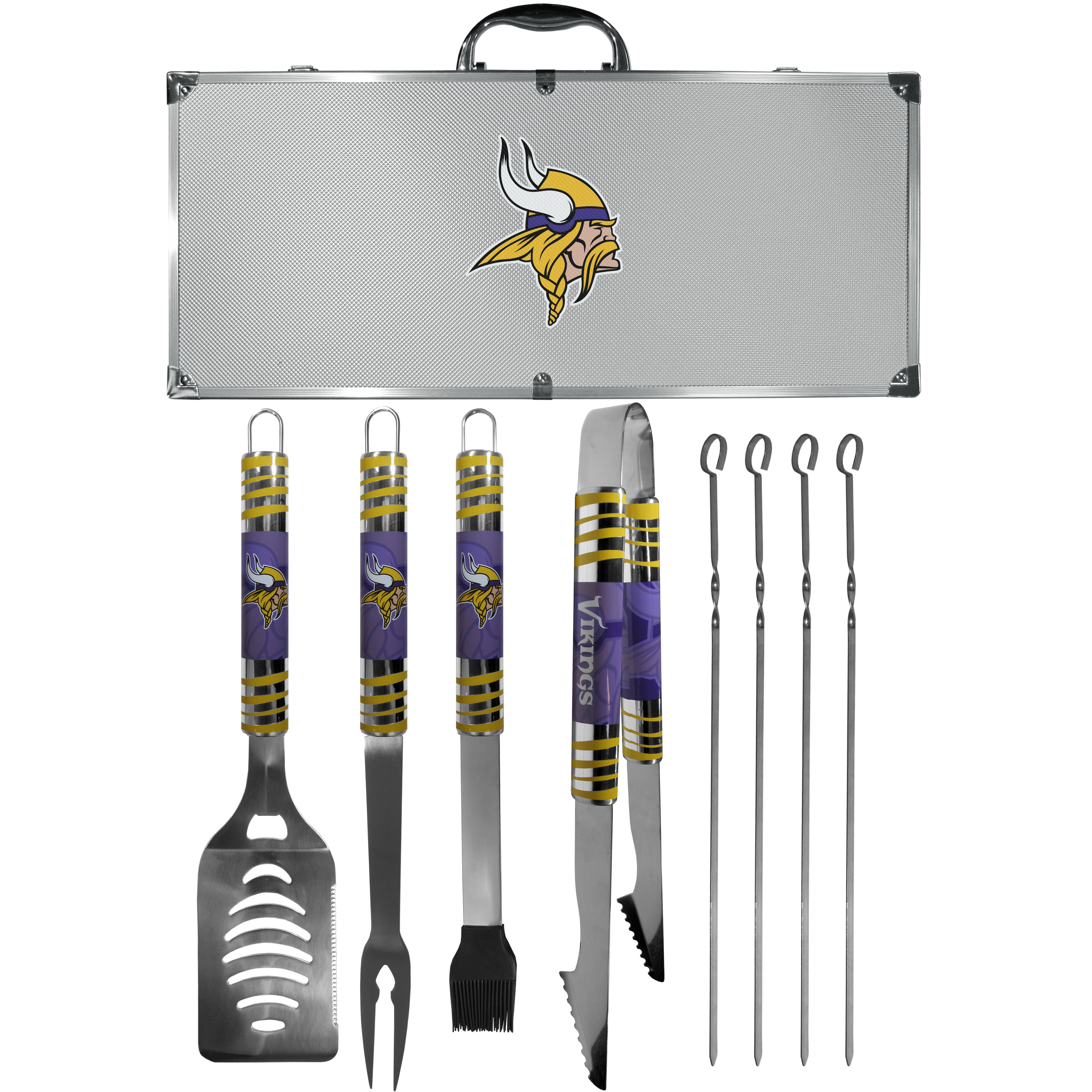 Minnesota Vikings 8 pc Tailgater BBQ Set - This is the ultimate Minnesota Vikings tailgate accessory! The high quality, 420 grade stainless steel tools are durable and well-made enough to make even the pickiest grill master smile. This complete grill accessory kit includes; 4 skewers, spatula with bottle opener and serrated knife edge, basting brush, tongs and a fork. The 18 inch metal carrying case is perfect for great outdoor use making grilling an ease while camping, tailgating or while having a game day party on your patio. The tools are 17 inches long and feature vivid team graphics. The metal case features a large team emblem with exceptional detail. This high-end men's gift is sure to be a hit as a present on Father's Day or Christmas.