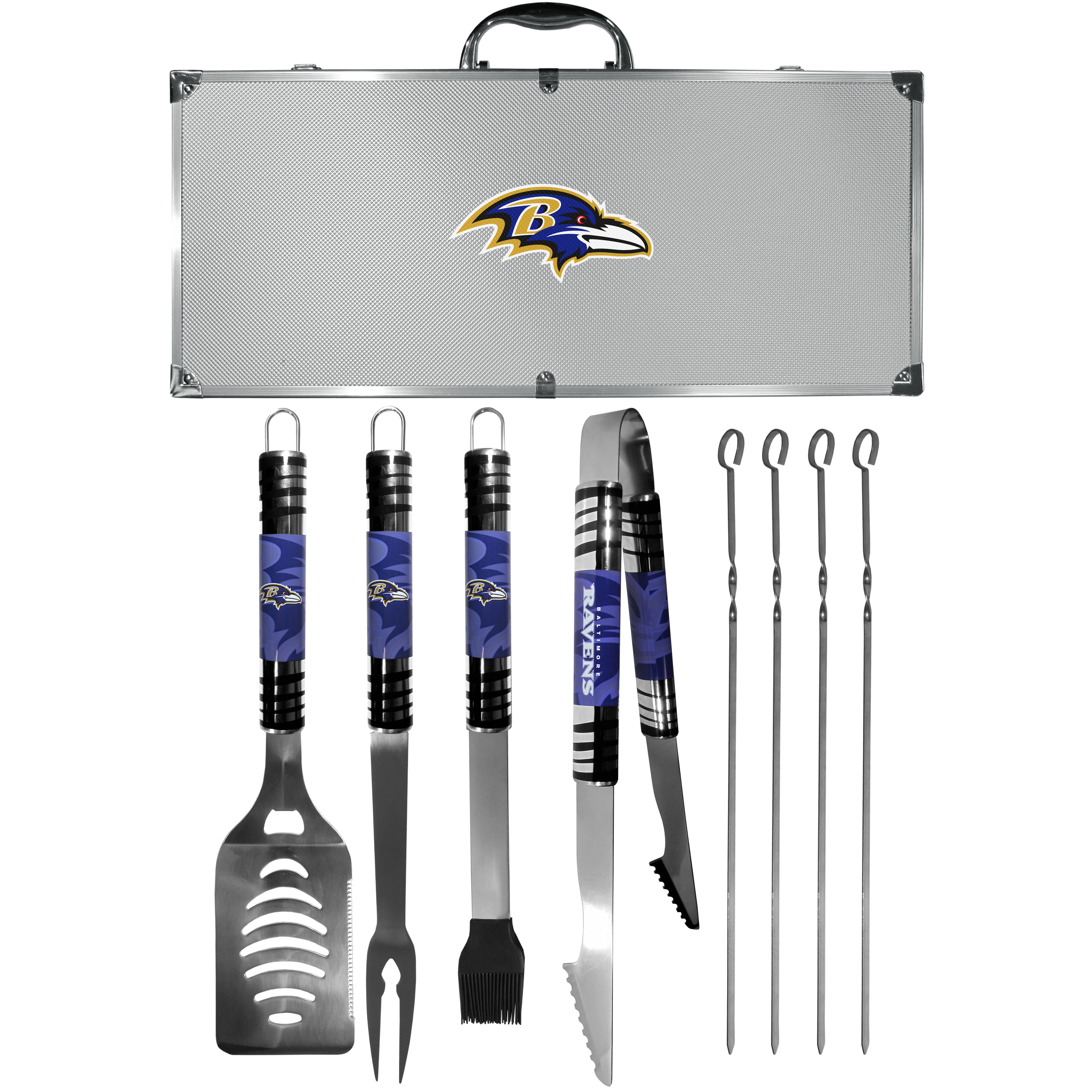 Baltimore Ravens 8 pc Tailgater BBQ Set - This is the ultimate Baltimore Ravens tailgate accessory! The high quality, 420 grade stainless steel tools are durable and well-made enough to make even the pickiest grill master smile. This complete grill accessory kit includes; 4 skewers, spatula with bottle opener and serrated knife edge, basting brush, tongs and a fork. The 18 inch metal carrying case is perfect for great outdoor use making grilling an ease while camping, tailgating or while having a game day party on your patio. The tools are 17 inches long and feature vivid team graphics. The metal case features a large team emblem with exceptional detail. This high-end men's gift is sure to be a hit as a present on Father's Day or Christmas.
