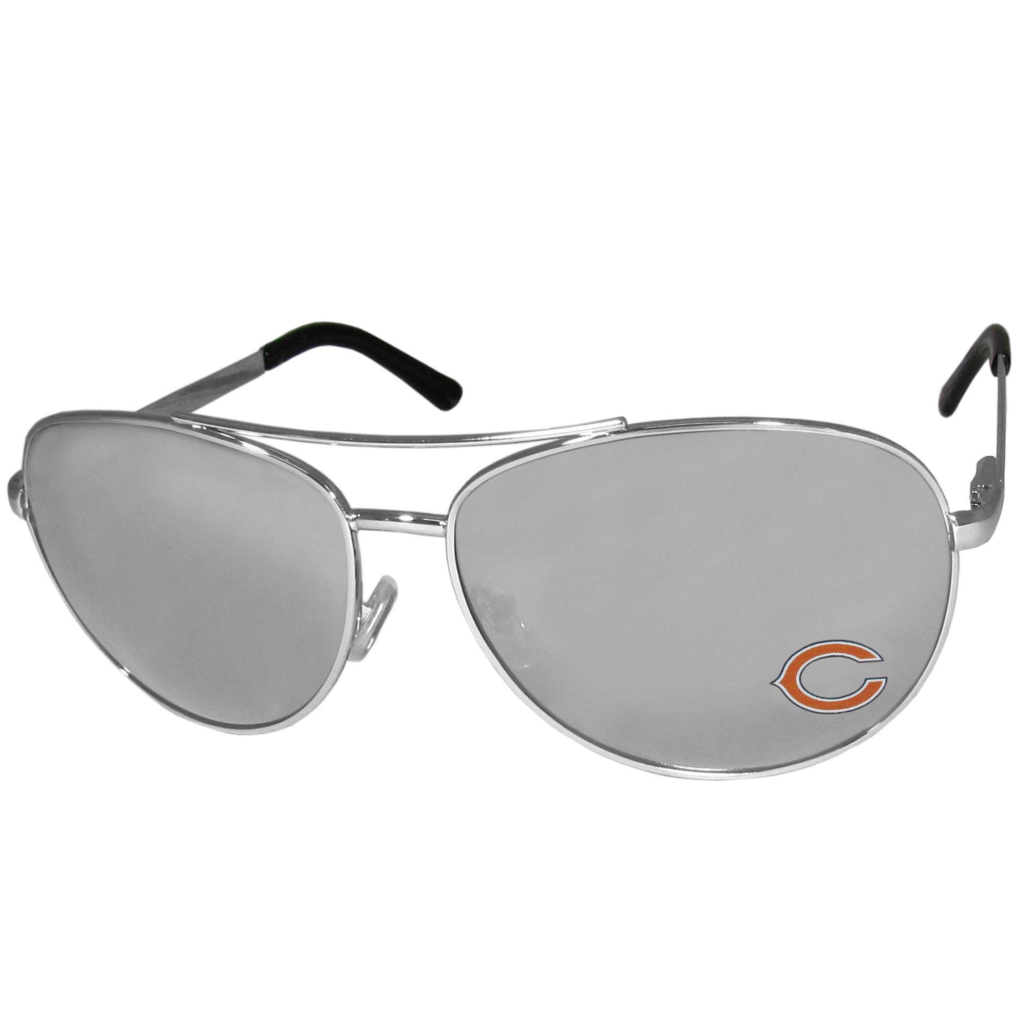 Chicago Bears Aviator Sunglasses - Officially licensed NFL Chicago Bears aviator sunglasses have the iconic aviator style with mirrored lenses and metal frames. The Chicago Bears Aviator Sunglasses feature a silk screened Chicago Bears logo in the corner of the lens. 100% UVA/UVB protection. Officially licensed NFL product Licensee: Siskiyou Buckle .com