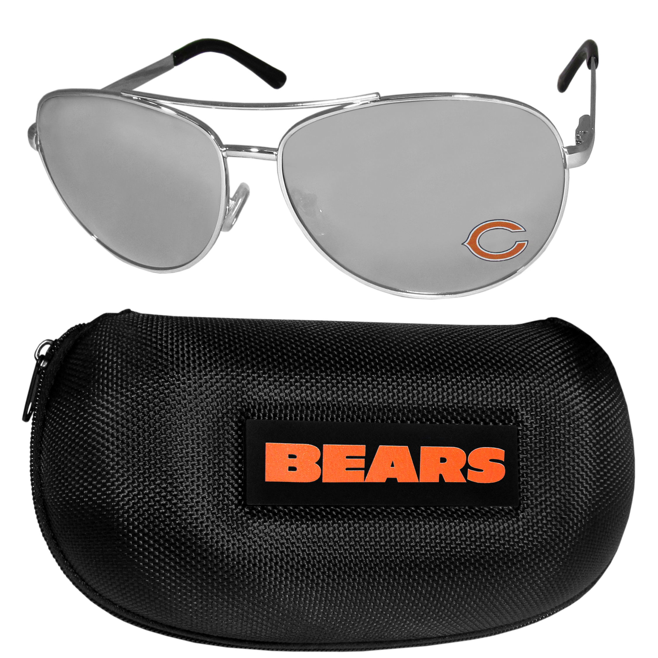 Chicago Bears Aviator Sunglasses and Zippered Carrying Case - Aviator sunglasses are truly an iconic retro fashion statement that never goes out-of-style. Our Chicago Bears  aviator sunglasses pair this classic look with your love of the game. The iridium coated lenses reduce glare while driving, boating, golfing and their 100% UVA/UVB rating provides you with the maximum UV protection for all your outdoor activities. A millennial favorite, these affordable designer frames are the perfect eyewear accessory for a sports fan that is looking for high-quality at an affordable price. The durable, flex hinged frames are tough enough for hiking and camping or if you prefer sun bathing by the pool or on the beach these shades will really stand the test of time. The sunglasses come with a hard shell zippered case which has a large team logo on the lid that will make even the most die-hard fan proud!