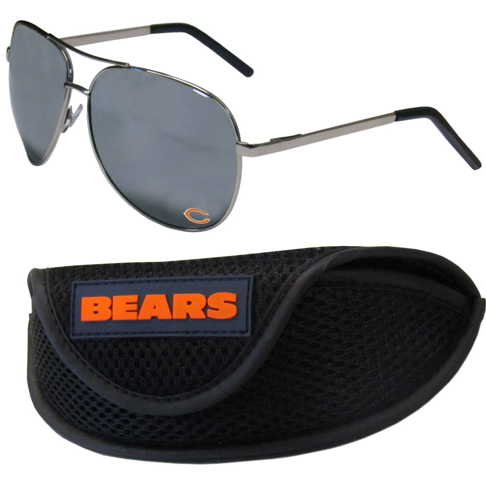 Chicago Bears Aviator Sunglasses and Sports Case - Aviator sunglasses are truly an iconic retro fashion statement that never goes out-of-style. Our Chicago Bears  aviator sunglasses pair this classic look with your love of the game. The iridium coated lenses reduce glare while driving, boating, golfing and their 100% UVA/UVB rating provides you with the maximum UV protection for all your outdoor activities. A millennial favorite, these affordable designer frames are the perfect eyewear accessory for a sports fan that is looking for high-quality at an affordable price. The durable, flex hinged frames are tough enough for hiking and camping or if you prefer sun bathing by the pool or on the beach these shades will really stand the test of time. The sunglasses come with a sporty case which has a large team logo on the lid that will make even the most die-hard fan proud!