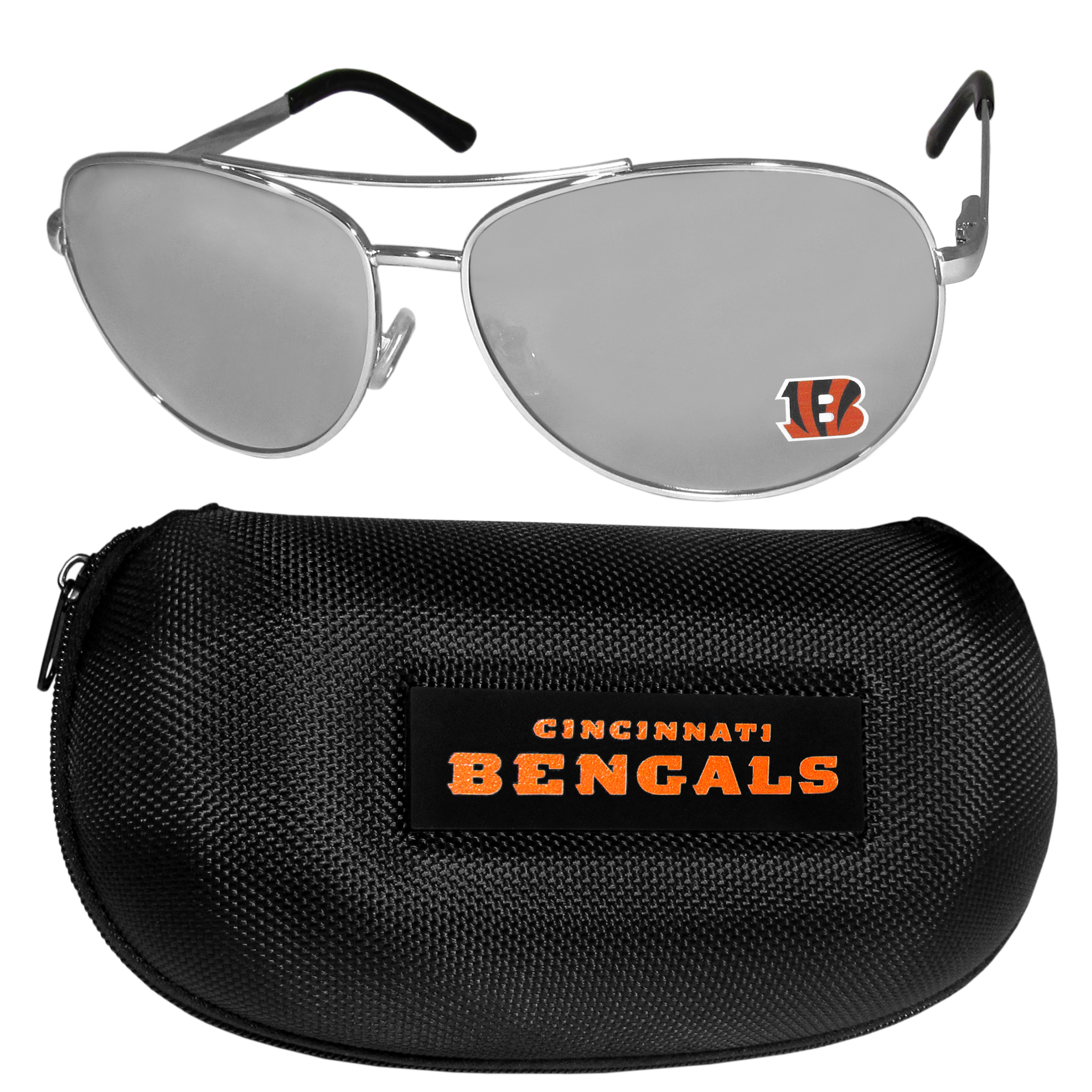 Cincinnati Bengals Aviator Sunglasses and Zippered Carrying Case - Aviator sunglasses are truly an iconic retro fashion statement that never goes out-of-style. Our Cincinnati Bengals  aviator sunglasses pair this classic look with your love of the game. The iridium coated lenses reduce glare while driving, boating, golfing and their 100% UVA/UVB rating provides you with the maximum UV protection for all your outdoor activities. A millennial favorite, these affordable designer frames are the perfect eyewear accessory for a sports fan that is looking for high-quality at an affordable price. The durable, flex hinged frames are tough enough for hiking and camping or if you prefer sun bathing by the pool or on the beach these shades will really stand the test of time. The sunglasses come with a hard shell zippered case which has a large team logo on the lid that will make even the most die-hard fan proud!