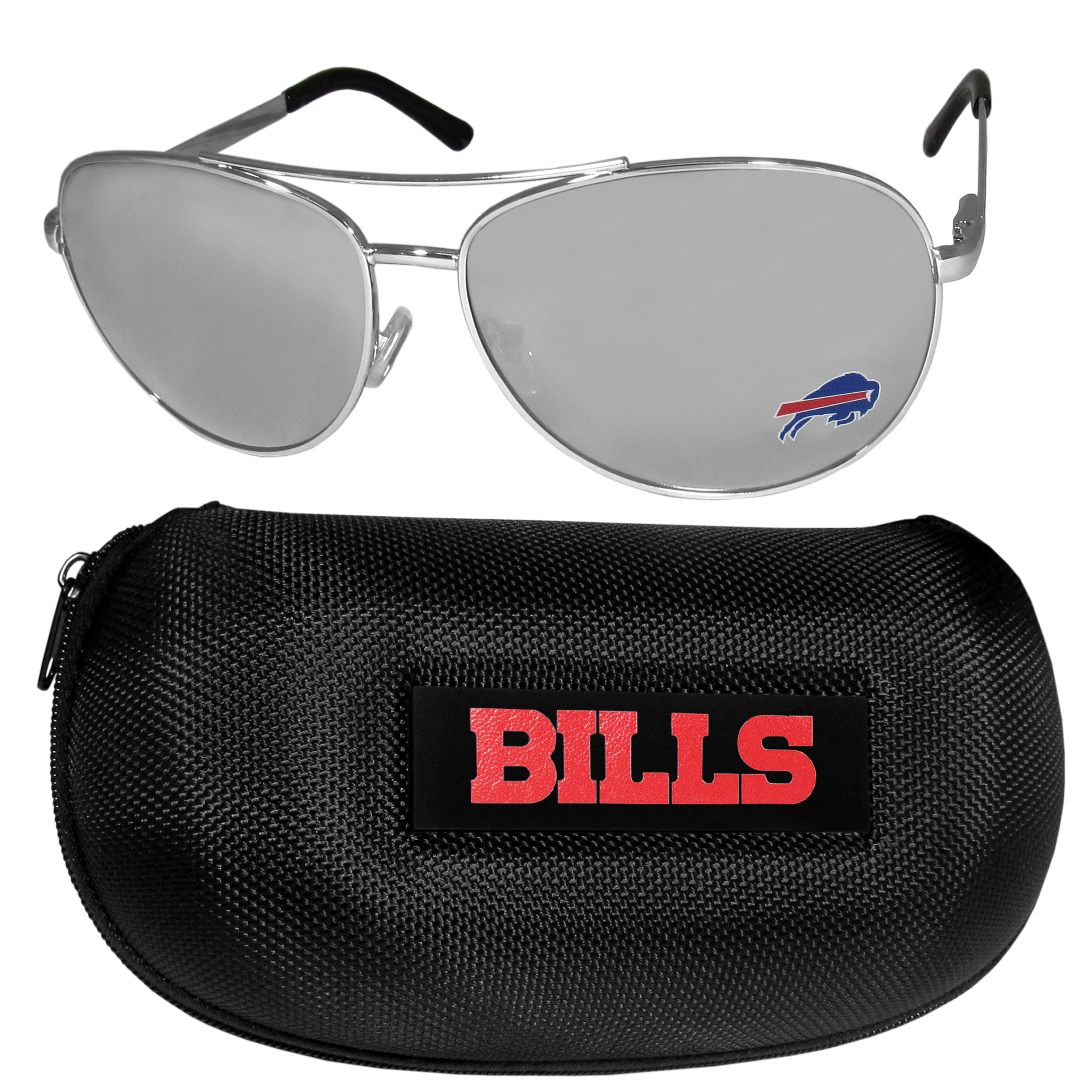 Buffalo Bills Aviator Sunglasses and Zippered Carrying Case - Aviator sunglasses are truly an iconic retro fashion statement that never goes out-of-style. Our Buffalo Bills  aviator sunglasses pair this classic look with your love of the game. The iridium coated lenses reduce glare while driving, boating, golfing and their 100% UVA/UVB rating provides you with the maximum UV protection for all your outdoor activities. A millennial favorite, these affordable designer frames are the perfect eyewear accessory for a sports fan that is looking for high-quality at an affordable price. The durable, flex hinged frames are tough enough for hiking and camping or if you prefer sun bathing by the pool or on the beach these shades will really stand the test of time. The sunglasses come with a hard shell zippered case which has a large team logo on the lid that will make even the most die-hard fan proud!