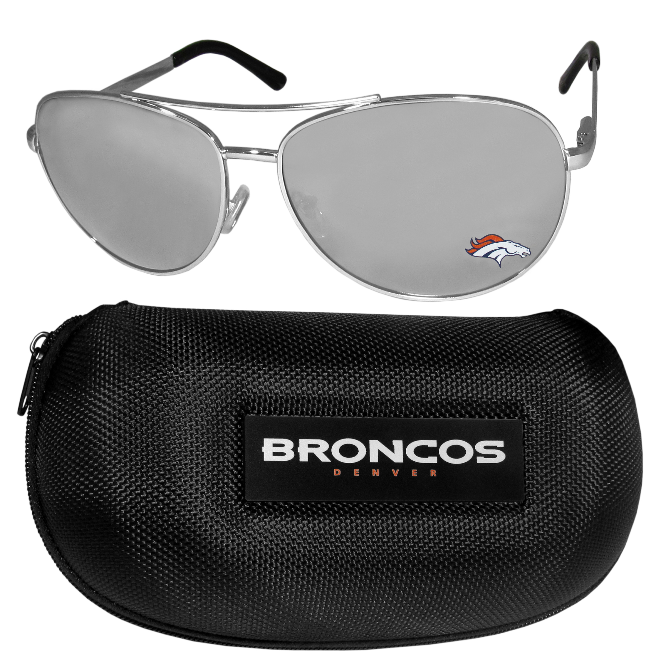 Denver Broncos Aviator Sunglasses and Zippered Carrying Case - Aviator sunglasses are truly an iconic retro fashion statement that never goes out-of-style. Our Denver Broncos  aviator sunglasses pair this classic look with your love of the game. The iridium coated lenses reduce glare while driving, boating, golfing and their 100% UVA/UVB rating provides you with the maximum UV protection for all your outdoor activities. A millennial favorite, these affordable designer frames are the perfect eyewear accessory for a sports fan that is looking for high-quality at an affordable price. The durable, flex hinged frames are tough enough for hiking and camping or if you prefer sun bathing by the pool or on the beach these shades will really stand the test of time. The sunglasses come with a hard shell zippered case which has a large team logo on the lid that will make even the most die-hard fan proud!