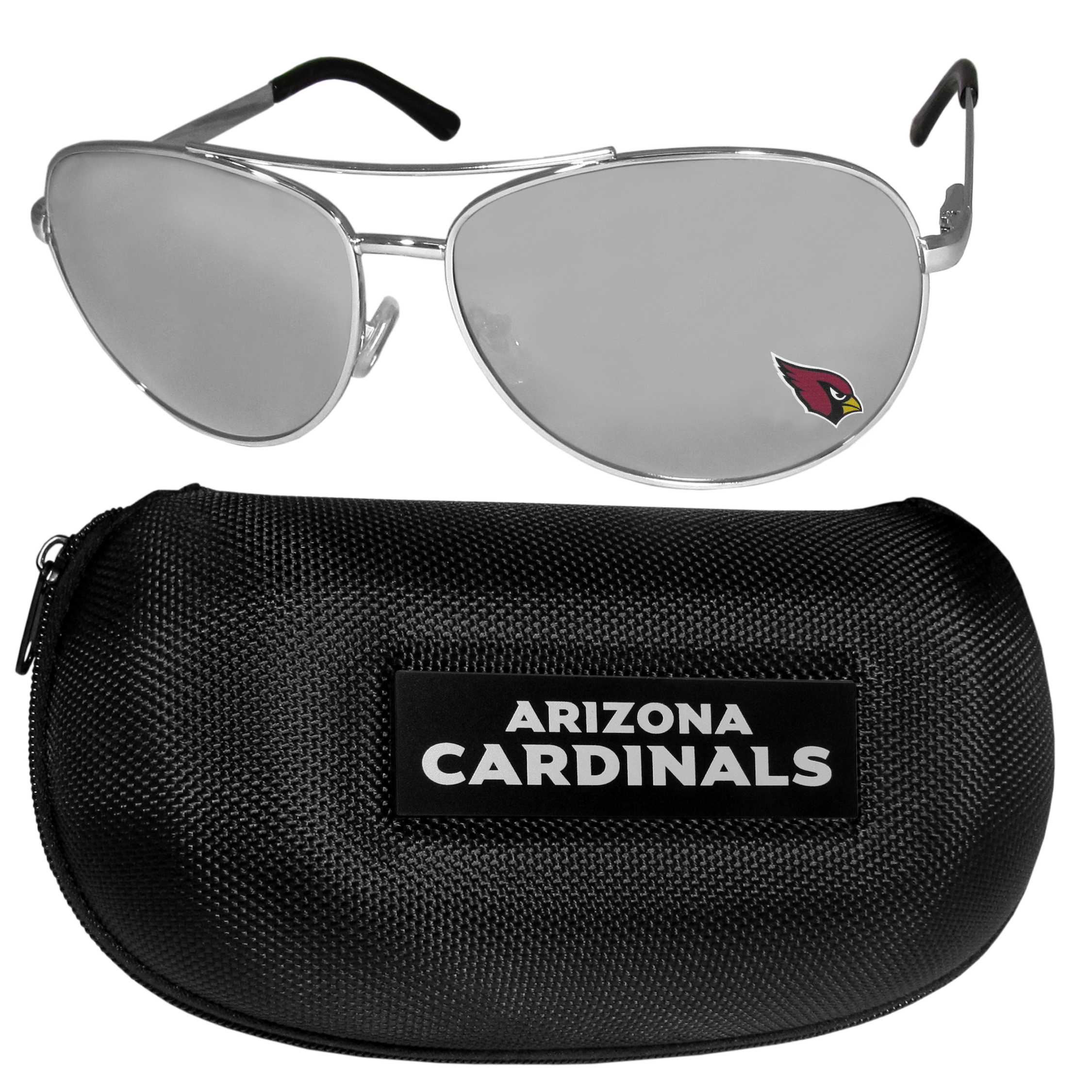 Arizona Cardinals Aviator Sunglasses and Zippered Carrying Case - Aviator sunglasses are truly an iconic retro fashion statement that never goes out-of-style. Our Arizona Cardinals  aviator sunglasses pair this classic look with your love of the game. The iridium coated lenses reduce glare while driving, boating, golfing and their 100% UVA/UVB rating provides you with the maximum UV protection for all your outdoor activities. A millennial favorite, these affordable designer frames are the perfect eyewear accessory for a sports fan that is looking for high-quality at an affordable price. The durable, flex hinged frames are tough enough for hiking and camping or if you prefer sun bathing by the pool or on the beach these shades will really stand the test of time. The sunglasses come with a hard shell zippered case which has a large team logo on the lid that will make even the most die-hard fan proud!