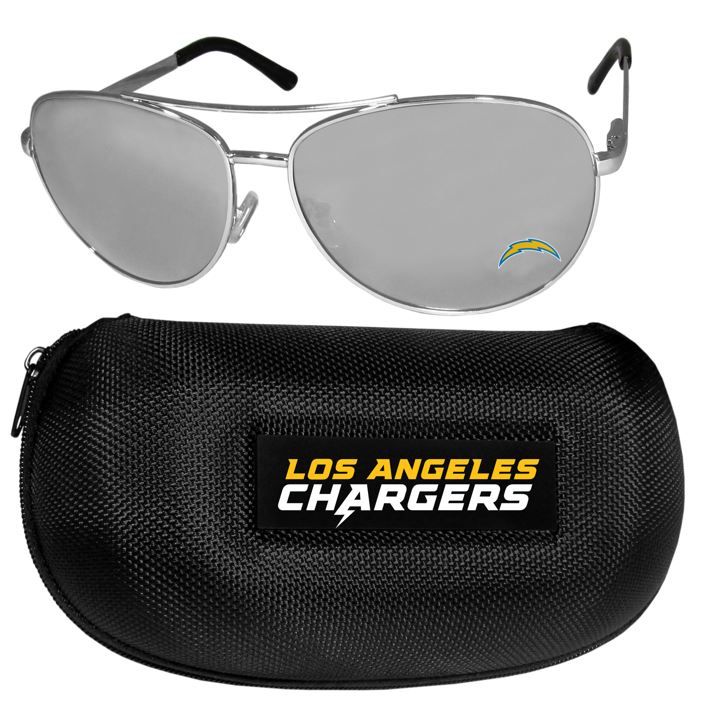 Los Angeles Chargers Aviator Sunglasses and Zippered Carrying Case - Aviator sunglasses are truly an iconic retro fashion statement that never goes out-of-style. Our Los Angeles Chargers  aviator sunglasses pair this classic look with your love of the game. The iridium coated lenses reduce glare while driving, boating, golfing and their 100% UVA/UVB rating provides you with the maximum UV protection for all your outdoor activities. A millennial favorite, these affordable designer frames are the perfect eyewear accessory for a sports fan that is looking for high-quality at an affordable price. The durable, flex hinged frames are tough enough for hiking and camping or if you prefer sun bathing by the pool or on the beach these shades will really stand the test of time. The sunglasses come with a hard shell zippered case which has a large team logo on the lid that will make even the most die-hard fan proud!
