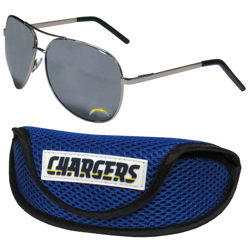 Los Angeles Chargers Aviator Sunglasses and Sports Case - Aviator sunglasses are truly an iconic retro fashion statement that never goes out-of-style. Our Los Angeles Chargers  aviator sunglasses pair this classic look with your love of the game. The iridium coated lenses reduce glare while driving, boating, golfing and their 100% UVA/UVB rating provides you with the maximum UV protection for all your outdoor activities. A millennial favorite, these affordable designer frames are the perfect eyewear accessory for a sports fan that is looking for high-quality at an affordable price. The durable, flex hinged frames are tough enough for hiking and camping or if you prefer sun bathing by the pool or on the beach these shades will really stand the test of time. The sunglasses come with a sporty case which has a large team logo on the lid that will make even the most die-hard fan proud!