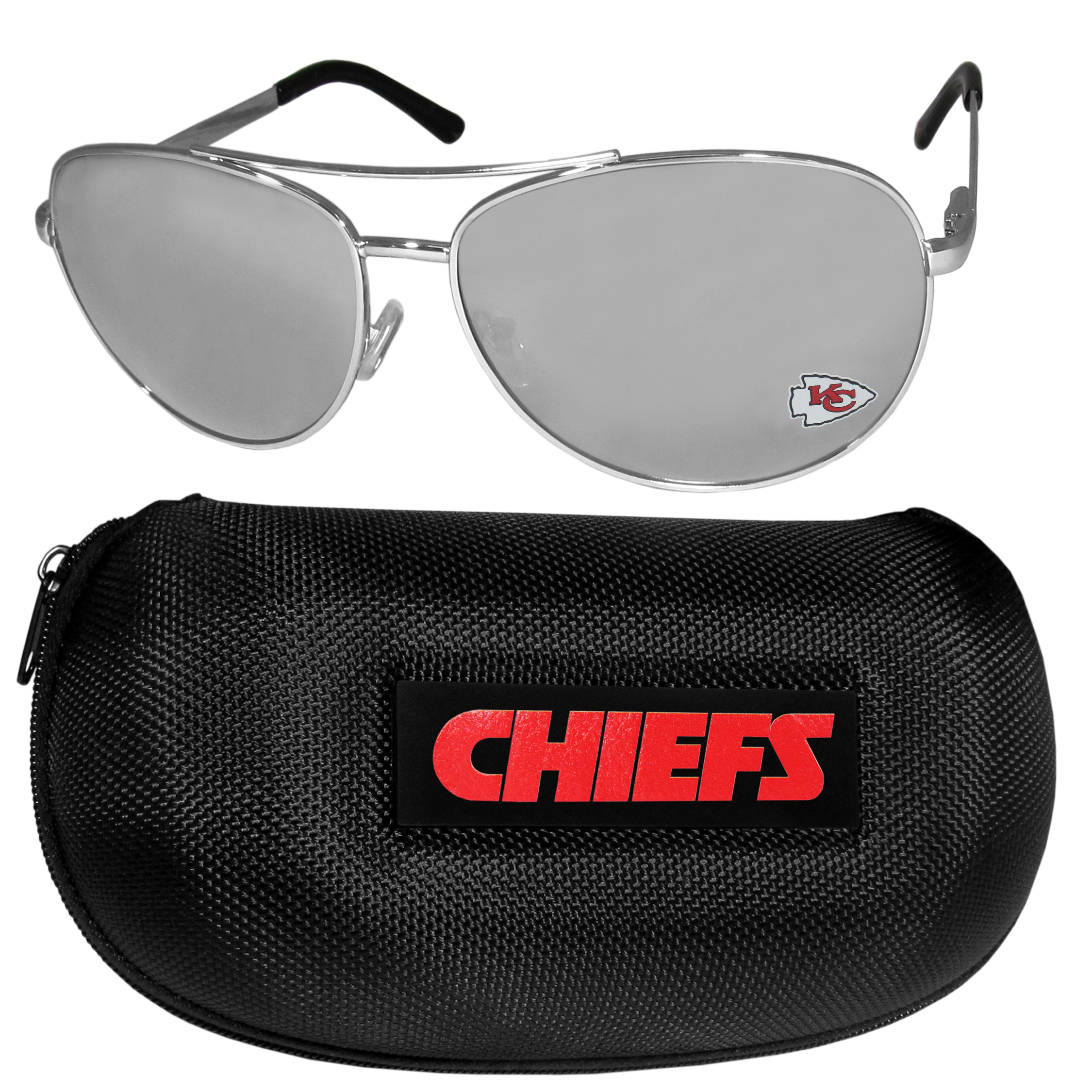 Kansas City Chiefs Aviator Sunglasses and Zippered Carrying Case - Aviator sunglasses are truly an iconic retro fashion statement that never goes out-of-style. Our Kansas City Chiefs  aviator sunglasses pair this classic look with your love of the game. The iridium coated lenses reduce glare while driving, boating, golfing and their 100% UVA/UVB rating provides you with the maximum UV protection for all your outdoor activities. A millennial favorite, these affordable designer frames are the perfect eyewear accessory for a sports fan that is looking for high-quality at an affordable price. The durable, flex hinged frames are tough enough for hiking and camping or if you prefer sun bathing by the pool or on the beach these shades will really stand the test of time. The sunglasses come with a hard shell zippered case which has a large team logo on the lid that will make even the most die-hard fan proud!