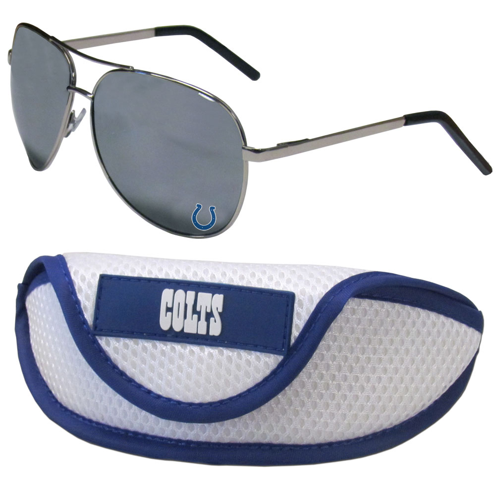 Indianapolis Colts Aviator Sunglasses and Sports Case - Aviator sunglasses are truly an iconic retro fashion statement that never goes out-of-style. Our Indianapolis Colts  aviator sunglasses pair this classic look with your love of the game. The iridium coated lenses reduce glare while driving, boating, golfing and their 100% UVA/UVB rating provides you with the maximum UV protection for all your outdoor activities. A millennial favorite, these affordable designer frames are the perfect eyewear accessory for a sports fan that is looking for high-quality at an affordable price. The durable, flex hinged frames are tough enough for hiking and camping or if you prefer sun bathing by the pool or on the beach these shades will really stand the test of time. The sunglasses come with a sporty case which has a large team logo on the lid that will make even the most die-hard fan proud!