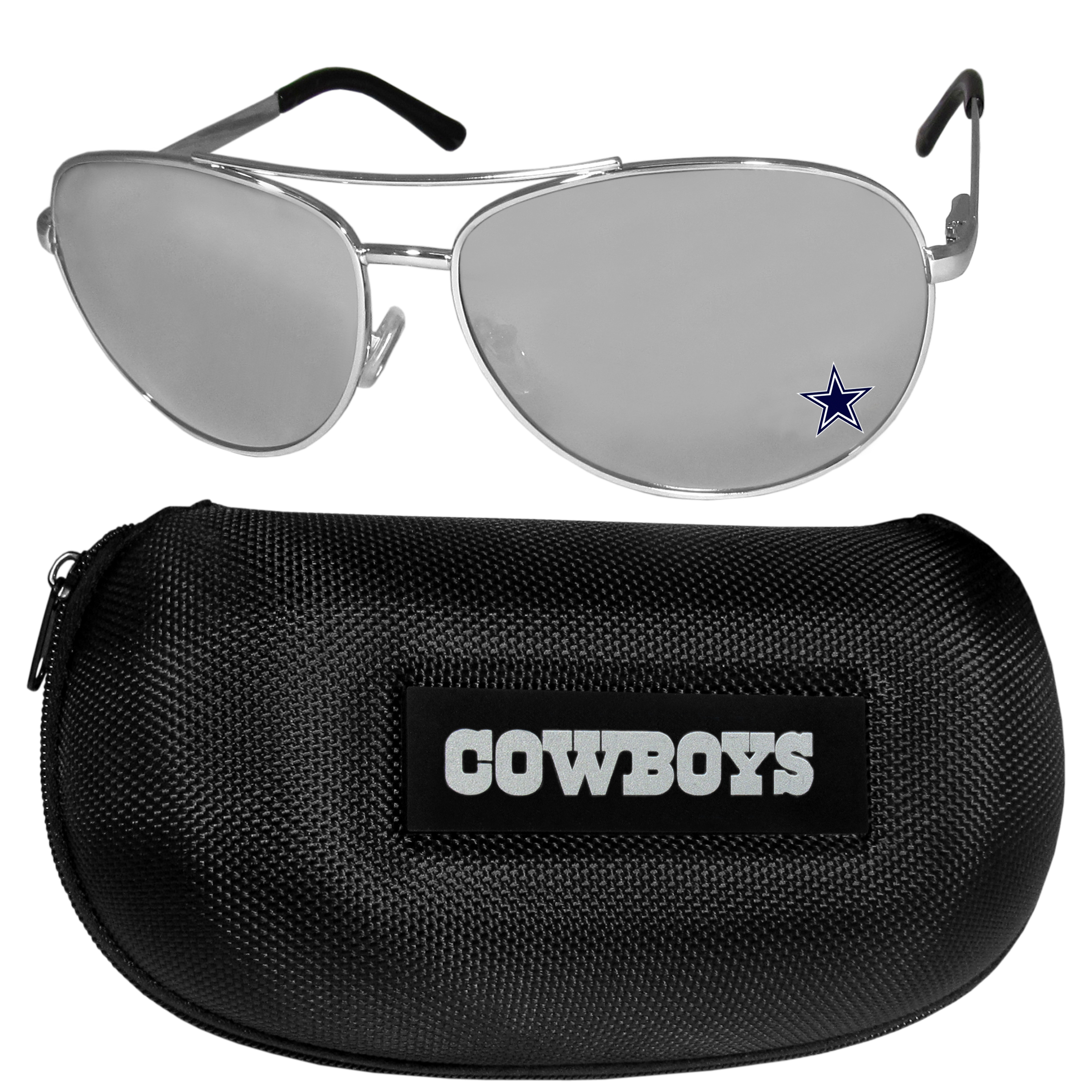 Dallas Cowboys Aviator Sunglasses and Zippered Carrying Case - Aviator sunglasses are truly an iconic retro fashion statement that never goes out-of-style. Our Dallas Cowboys  aviator sunglasses pair this classic look with your love of the game. The iridium coated lenses reduce glare while driving, boating, golfing and their 100% UVA/UVB rating provides you with the maximum UV protection for all your outdoor activities. A millennial favorite, these affordable designer frames are the perfect eyewear accessory for a sports fan that is looking for high-quality at an affordable price. The durable, flex hinged frames are tough enough for hiking and camping or if you prefer sun bathing by the pool or on the beach these shades will really stand the test of time. The sunglasses come with a hard shell zippered case which has a large team logo on the lid that will make even the most die-hard fan proud!