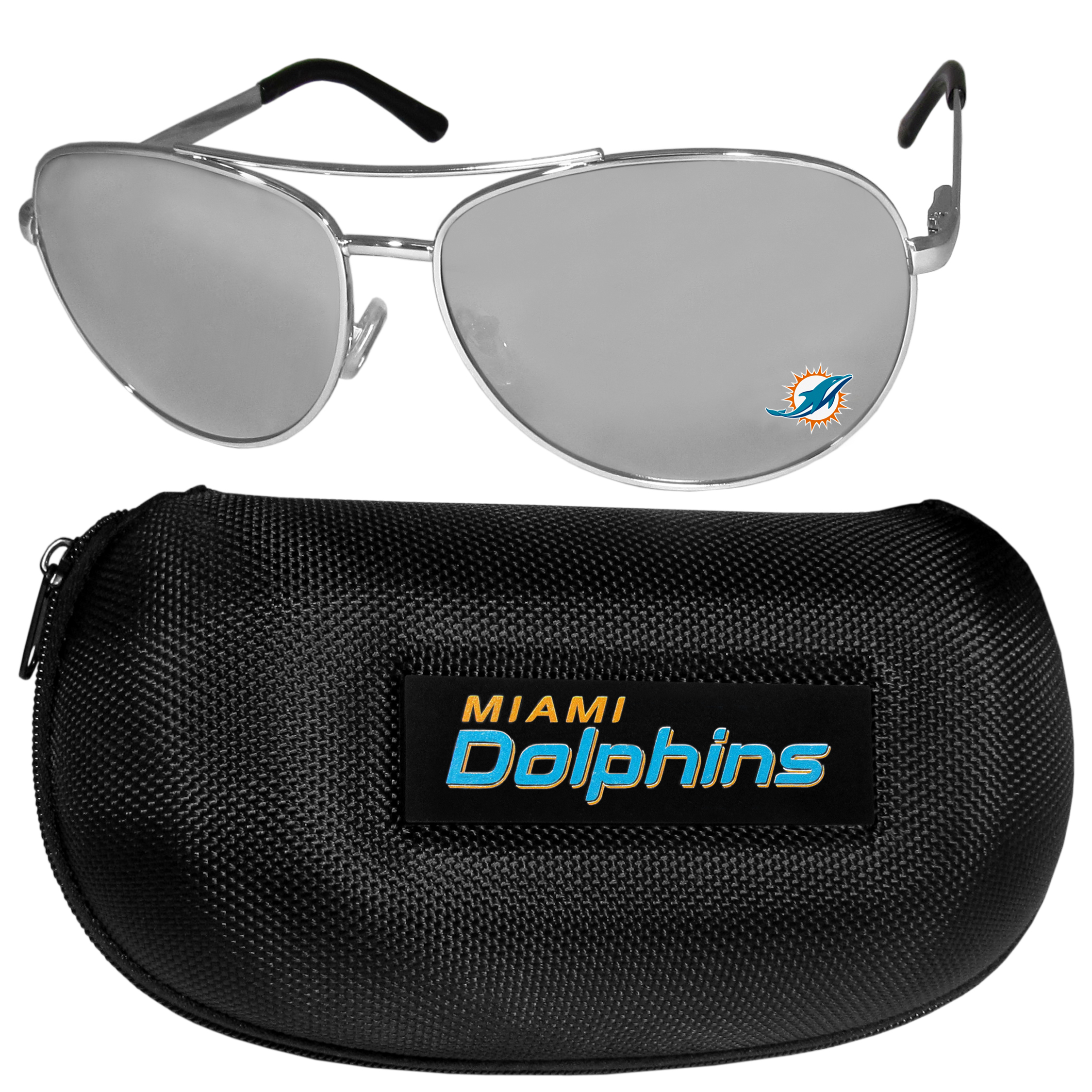 Miami Dolphins Aviator Sunglasses and Zippered Carrying Case - Aviator sunglasses are truly an iconic retro fashion statement that never goes out-of-style. Our Miami Dolphins  aviator sunglasses pair this classic look with your love of the game. The iridium coated lenses reduce glare while driving, boating, golfing and their 100% UVA/UVB rating provides you with the maximum UV protection for all your outdoor activities. A millennial favorite, these affordable designer frames are the perfect eyewear accessory for a sports fan that is looking for high-quality at an affordable price. The durable, flex hinged frames are tough enough for hiking and camping or if you prefer sun bathing by the pool or on the beach these shades will really stand the test of time. The sunglasses come with a hard shell zippered case which has a large team logo on the lid that will make even the most die-hard fan proud!