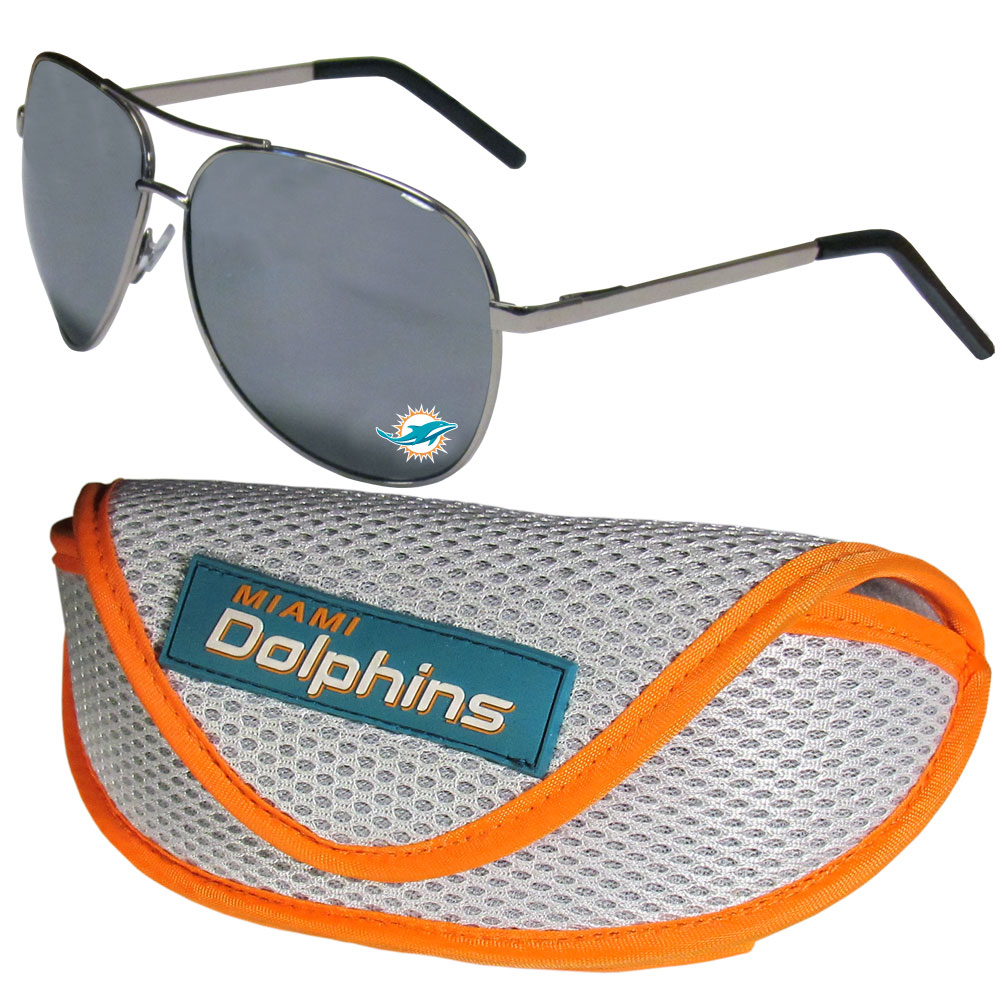 Miami Dolphins Aviator Sunglasses and Sports Case - Aviator sunglasses are truly an iconic retro fashion statement that never goes out-of-style. Our Miami Dolphins  aviator sunglasses pair this classic look with your love of the game. The iridium coated lenses reduce glare while driving, boating, golfing and their 100% UVA/UVB rating provides you with the maximum UV protection for all your outdoor activities. A millennial favorite, these affordable designer frames are the perfect eyewear accessory for a sports fan that is looking for high-quality at an affordable price. The durable, flex hinged frames are tough enough for hiking and camping or if you prefer sun bathing by the pool or on the beach these shades will really stand the test of time. The sunglasses come with a sporty case which has a large team logo on the lid that will make even the most die-hard fan proud!