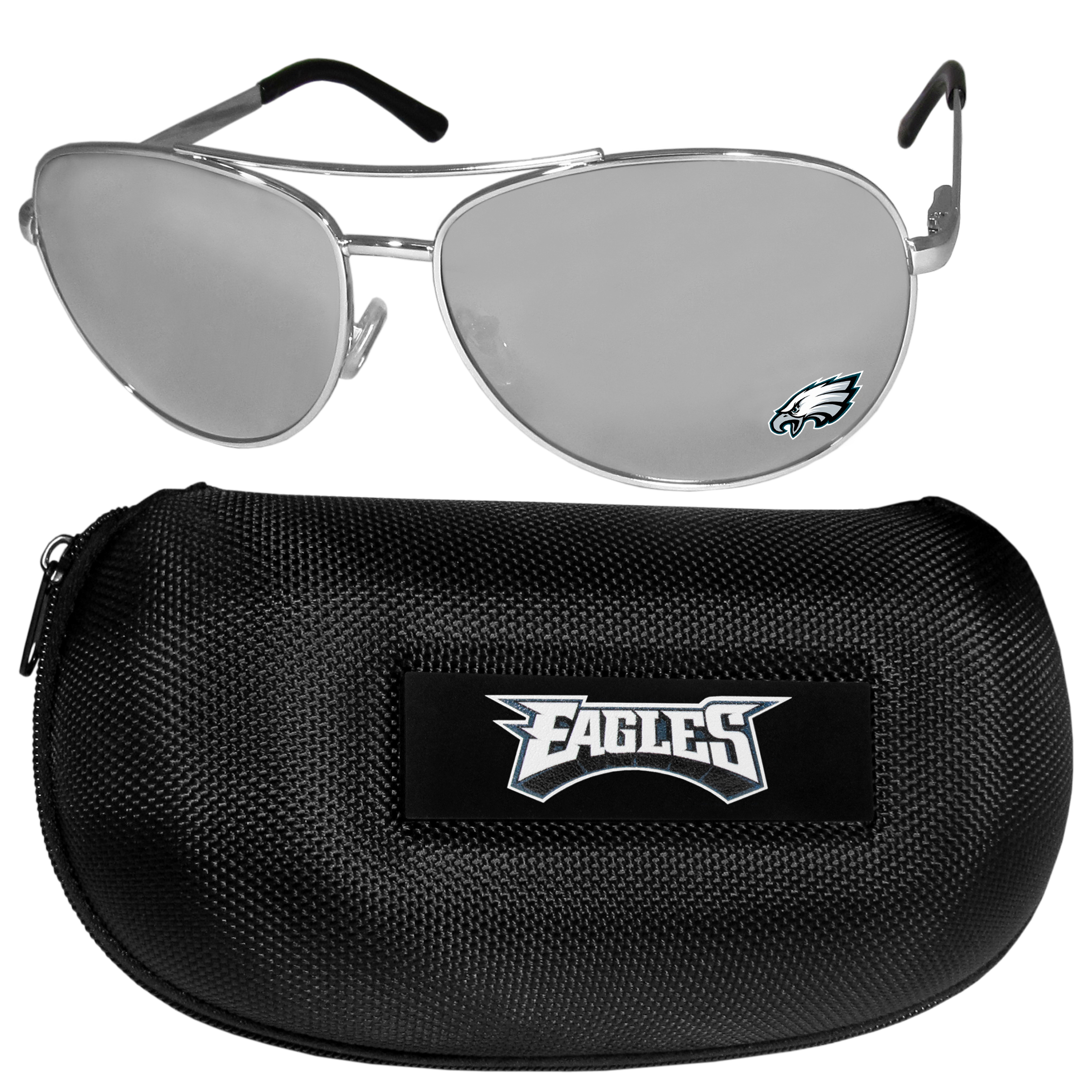 Philadelphia Eagles Aviator Sunglasses and Zippered Carrying Case - Aviator sunglasses are truly an iconic retro fashion statement that never goes out-of-style. Our Philadelphia Eagles  aviator sunglasses pair this classic look with your love of the game. The iridium coated lenses reduce glare while driving, boating, golfing and their 100% UVA/UVB rating provides you with the maximum UV protection for all your outdoor activities. A millennial favorite, these affordable designer frames are the perfect eyewear accessory for a sports fan that is looking for high-quality at an affordable price. The durable, flex hinged frames are tough enough for hiking and camping or if you prefer sun bathing by the pool or on the beach these shades will really stand the test of time. The sunglasses come with a hard shell zippered case which has a large team logo on the lid that will make even the most die-hard fan proud!
