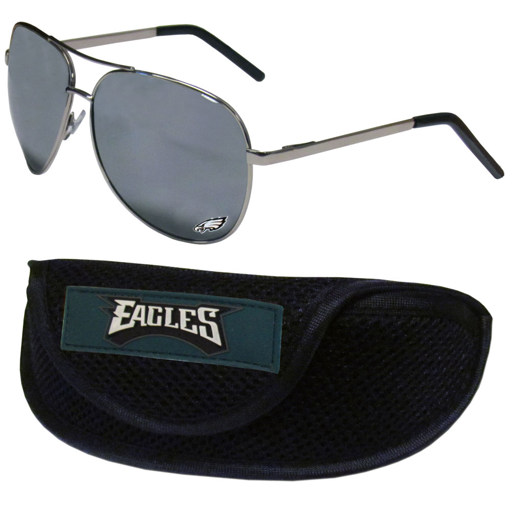 Philadelphia Eagles Aviator Sunglasses and Sports Case - Aviator sunglasses are truly an iconic retro fashion statement that never goes out-of-style. Our Philadelphia Eagles  aviator sunglasses pair this classic look with your love of the game. The iridium coated lenses reduce glare while driving, boating, golfing and their 100% UVA/UVB rating provides you with the maximum UV protection for all your outdoor activities. A millennial favorite, these affordable designer frames are the perfect eyewear accessory for a sports fan that is looking for high-quality at an affordable price. The durable, flex hinged frames are tough enough for hiking and camping or if you prefer sun bathing by the pool or on the beach these shades will really stand the test of time. The sunglasses come with a sporty case which has a large team logo on the lid that will make even the most die-hard fan proud!