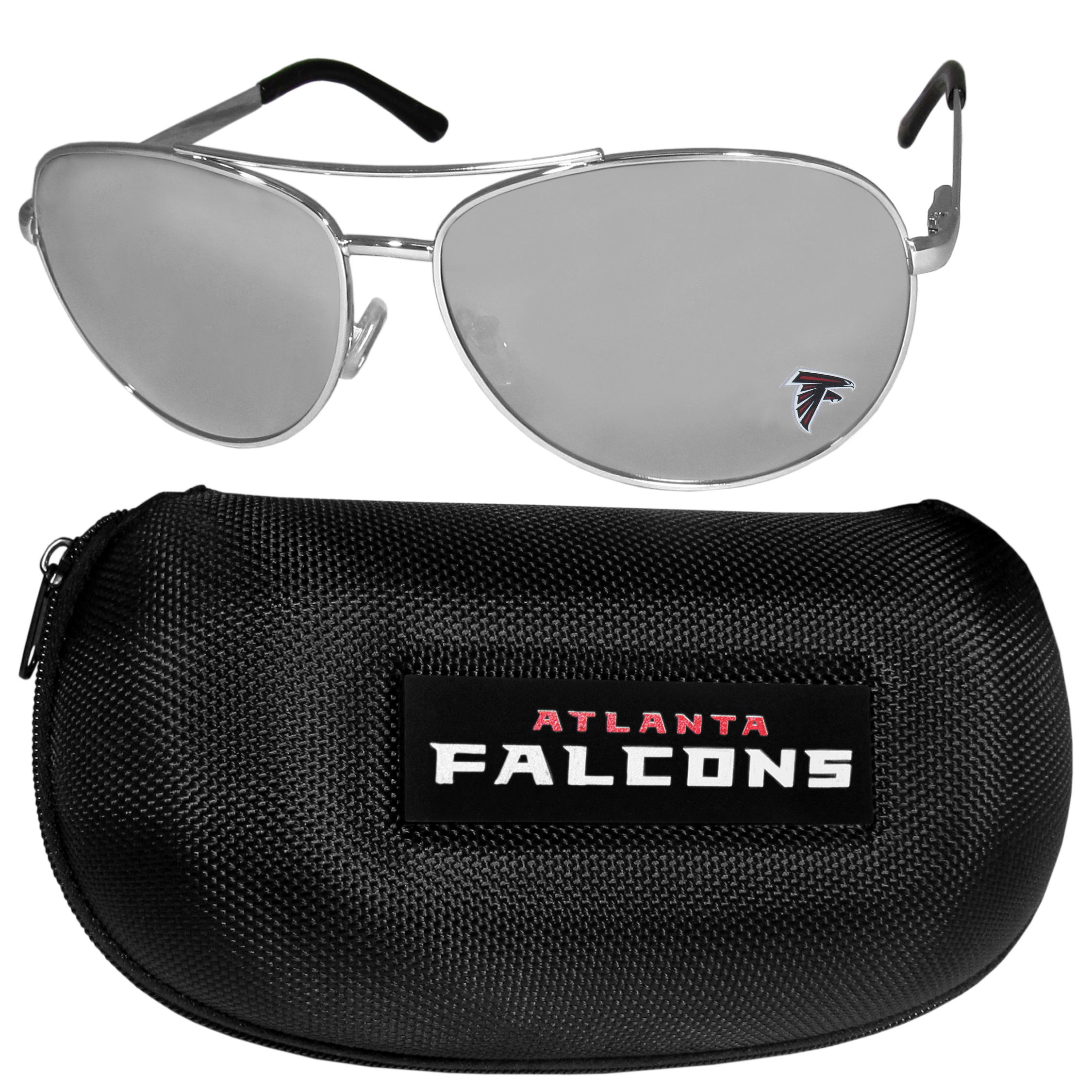 Atlanta Falcons Aviator Sunglasses and Zippered Carrying Case - Aviator sunglasses are truly an iconic retro fashion statement that never goes out-of-style. Our Atlanta Falcons  aviator sunglasses pair this classic look with your love of the game. The iridium coated lenses reduce glare while driving, boating, golfing and their 100% UVA/UVB rating provides you with the maximum UV protection for all your outdoor activities. A millennial favorite, these affordable designer frames are the perfect eyewear accessory for a sports fan that is looking for high-quality at an affordable price. The durable, flex hinged frames are tough enough for hiking and camping or if you prefer sun bathing by the pool or on the beach these shades will really stand the test of time. The sunglasses come with a hard shell zippered case which has a large team logo on the lid that will make even the most die-hard fan proud!