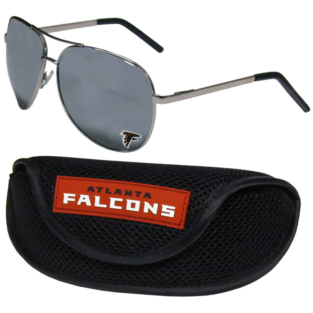 Atlanta Falcons Aviator Sunglasses and Sports Case - Aviator sunglasses are truly an iconic retro fashion statement that never goes out-of-style. Our Atlanta Falcons  aviator sunglasses pair this classic look with your love of the game. The iridium coated lenses reduce glare while driving, boating, golfing and their 100% UVA/UVB rating provides you with the maximum UV protection for all your outdoor activities. A millennial favorite, these affordable designer frames are the perfect eyewear accessory for a sports fan that is looking for high-quality at an affordable price. The durable, flex hinged frames are tough enough for hiking and camping or if you prefer sun bathing by the pool or on the beach these shades will really stand the test of time. The sunglasses come with a sporty case which has a large team logo on the lid that will make even the most die-hard fan proud!