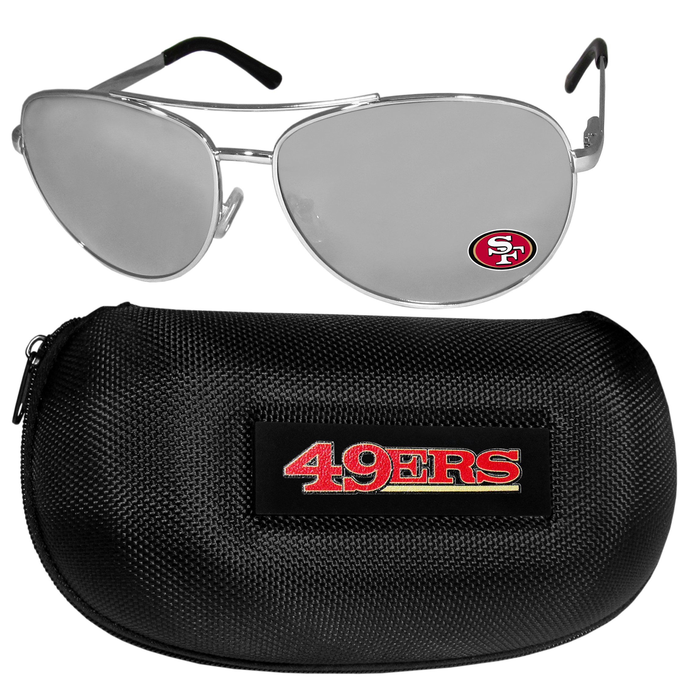 San Francisco 49ers Aviator Sunglasses and Zippered Carrying Case - Aviator sunglasses are truly an iconic retro fashion statement that never goes out-of-style. Our San Francisco 49ers  aviator sunglasses pair this classic look with your love of the game. The iridium coated lenses reduce glare while driving, boating, golfing and their 100% UVA/UVB rating provides you with the maximum UV protection for all your outdoor activities. A millennial favorite, these affordable designer frames are the perfect eyewear accessory for a sports fan that is looking for high-quality at an affordable price. The durable, flex hinged frames are tough enough for hiking and camping or if you prefer sun bathing by the pool or on the beach these shades will really stand the test of time. The sunglasses come with a hard shell zippered case which has a large team logo on the lid that will make even the most die-hard fan proud!